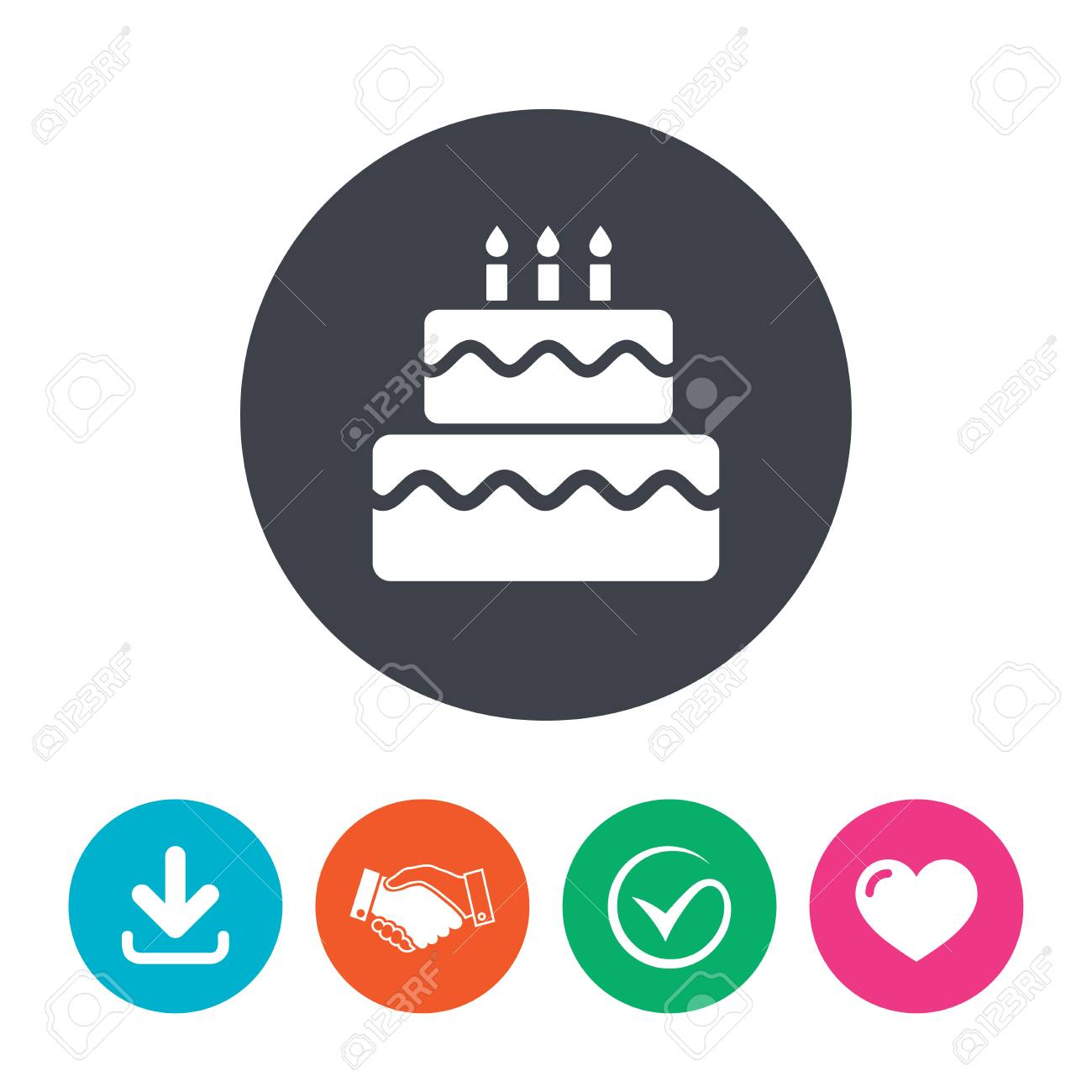 Birthday Cake Sign Icon Cake With Burning Candles Symbol Download
