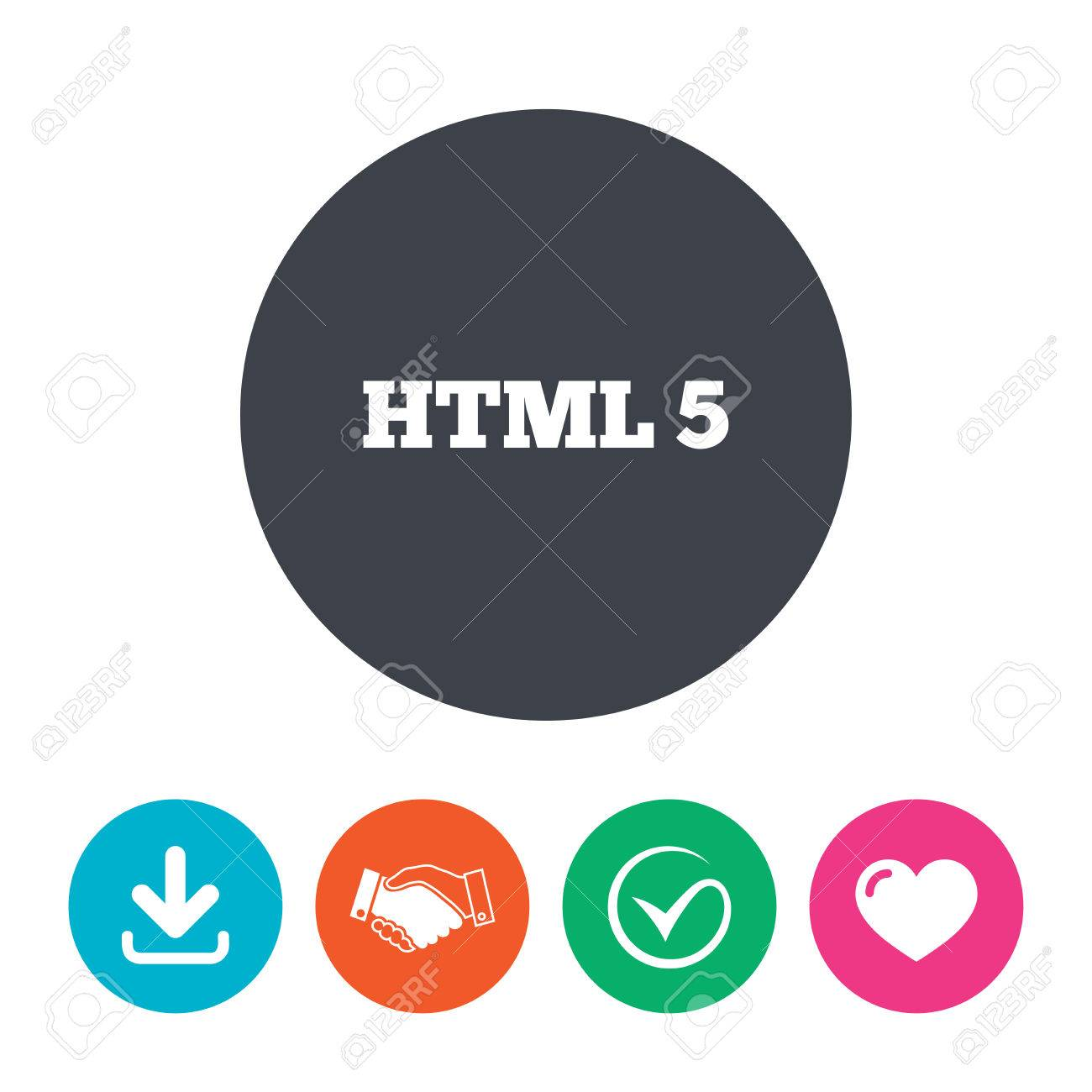 HTML5 Sign Icon. New Markup Language Symbol. Download Arrow ...