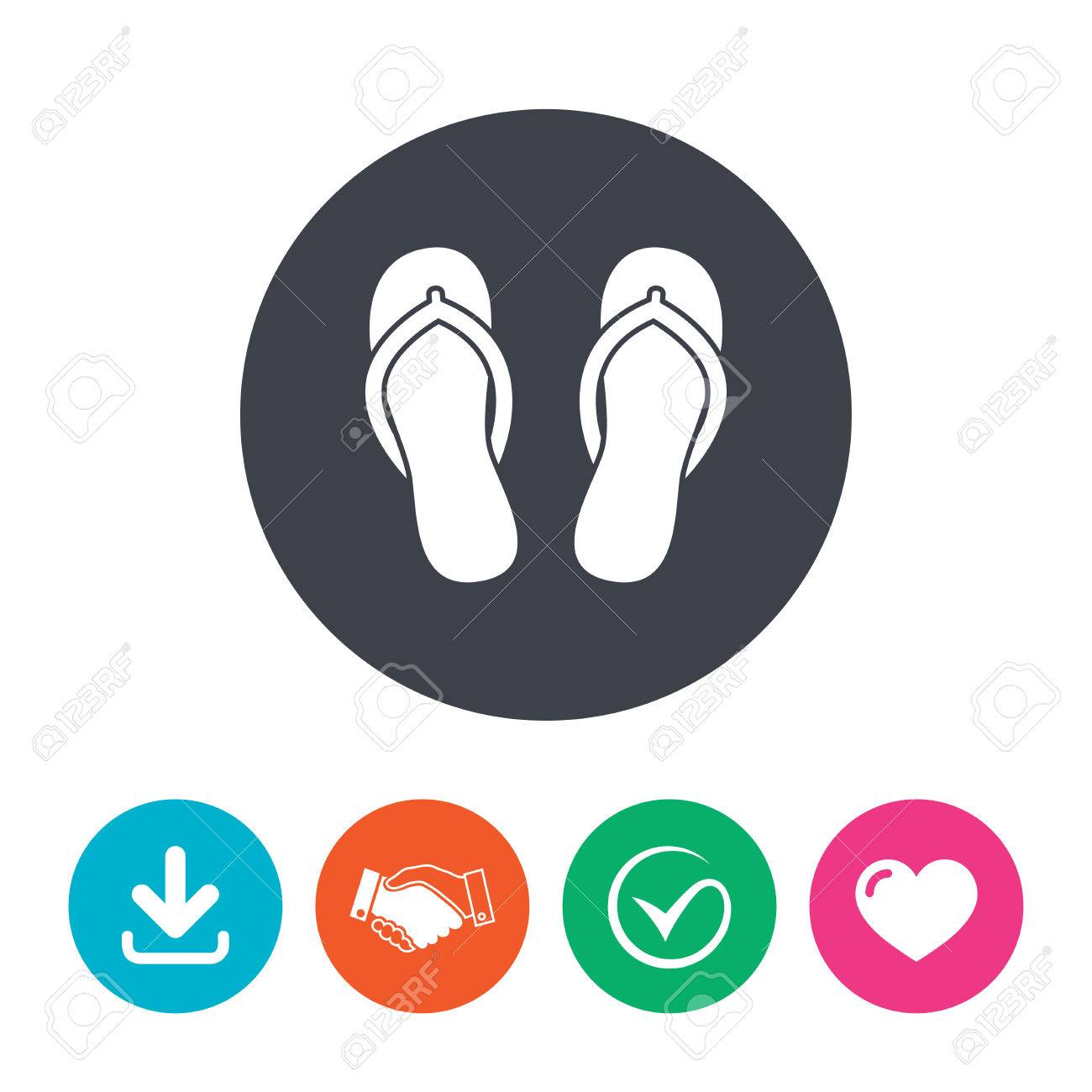 ee6436a4e198 Flip-flops Sign Icon. Beach Shoes. Sand Sandals. Download Arrow ...