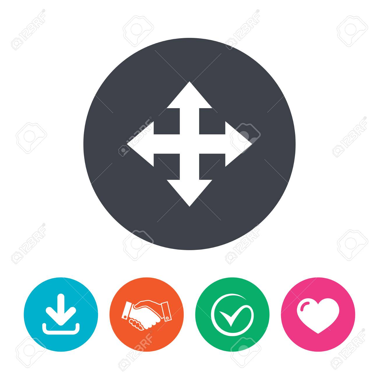 Fullscreen sign icon  Arrows symbol  Icon for App  Download arrow,