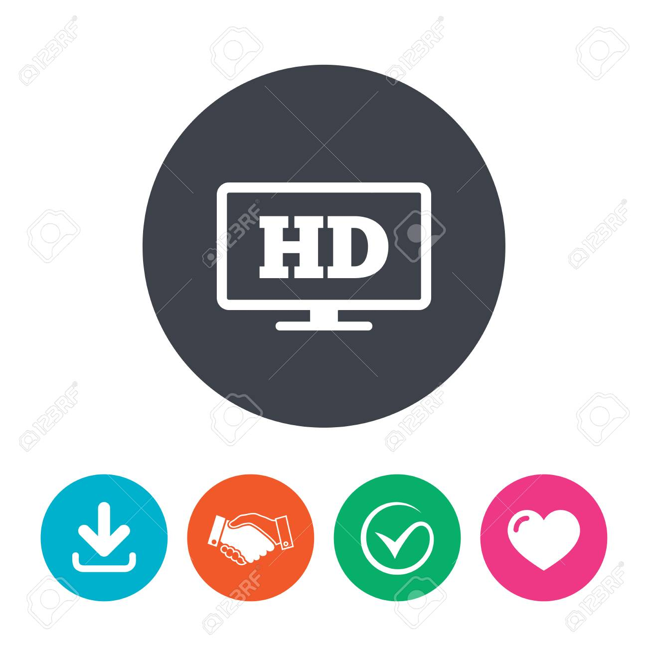 Hd Widescreen Tv Sign Icon High Definition Symbol Download
