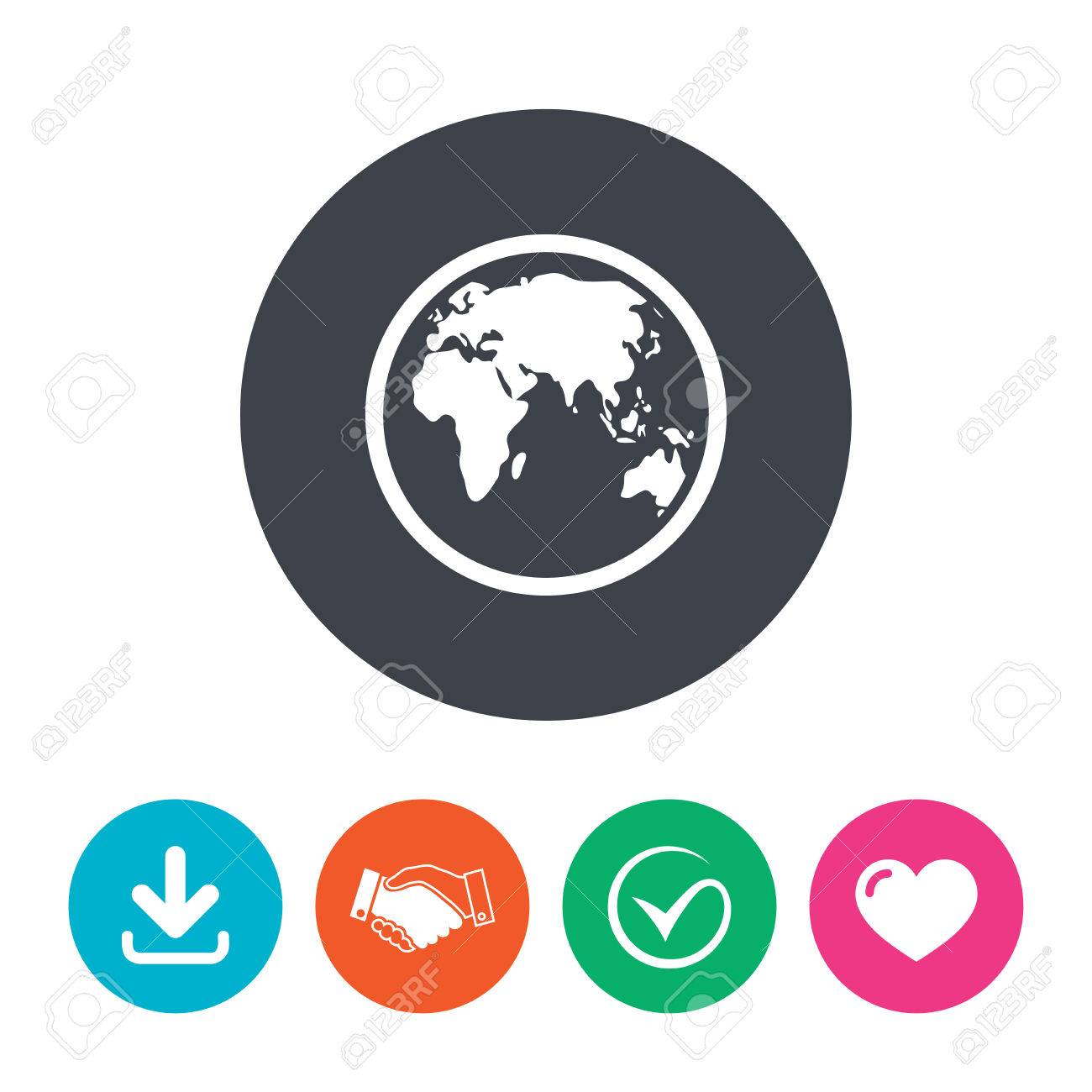 Globe sign icon world map geography symbol download arrow world map geography symbol download arrow handshake tick and gumiabroncs Gallery