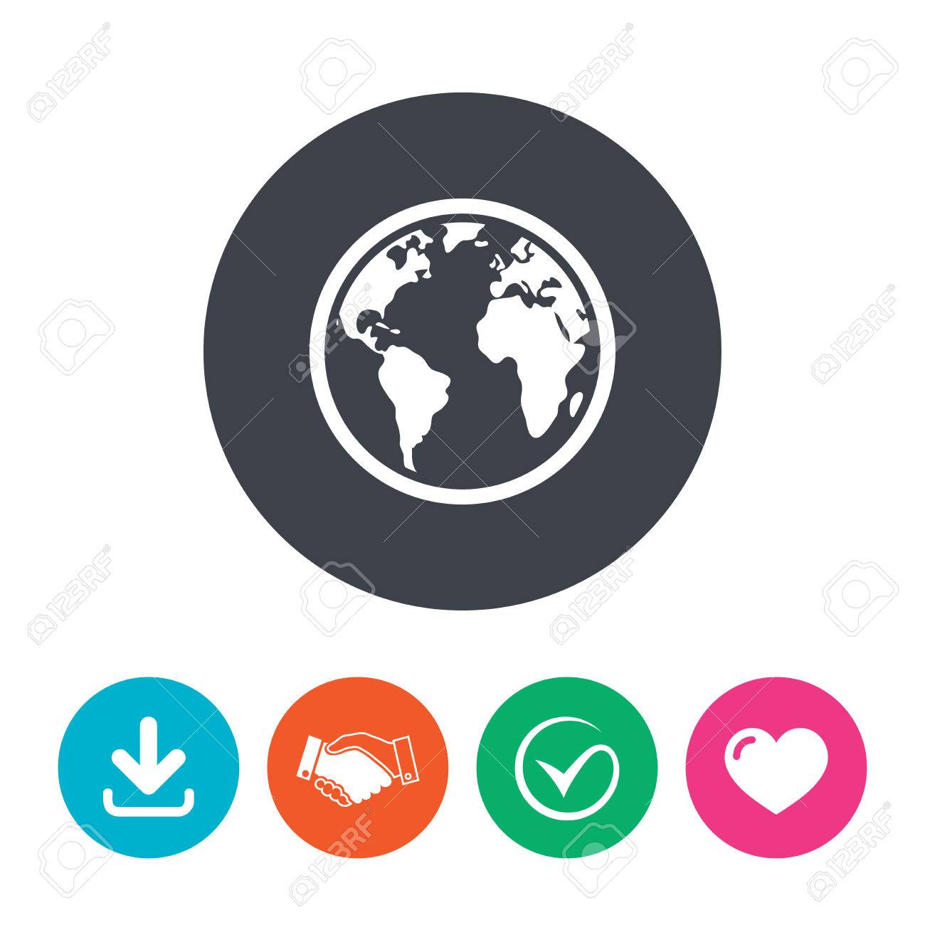 Globe sign icon world map geography symbol download arrow flat circle buttons globe sign icon world map geography symbol download arrow handshake tick and gumiabroncs Gallery