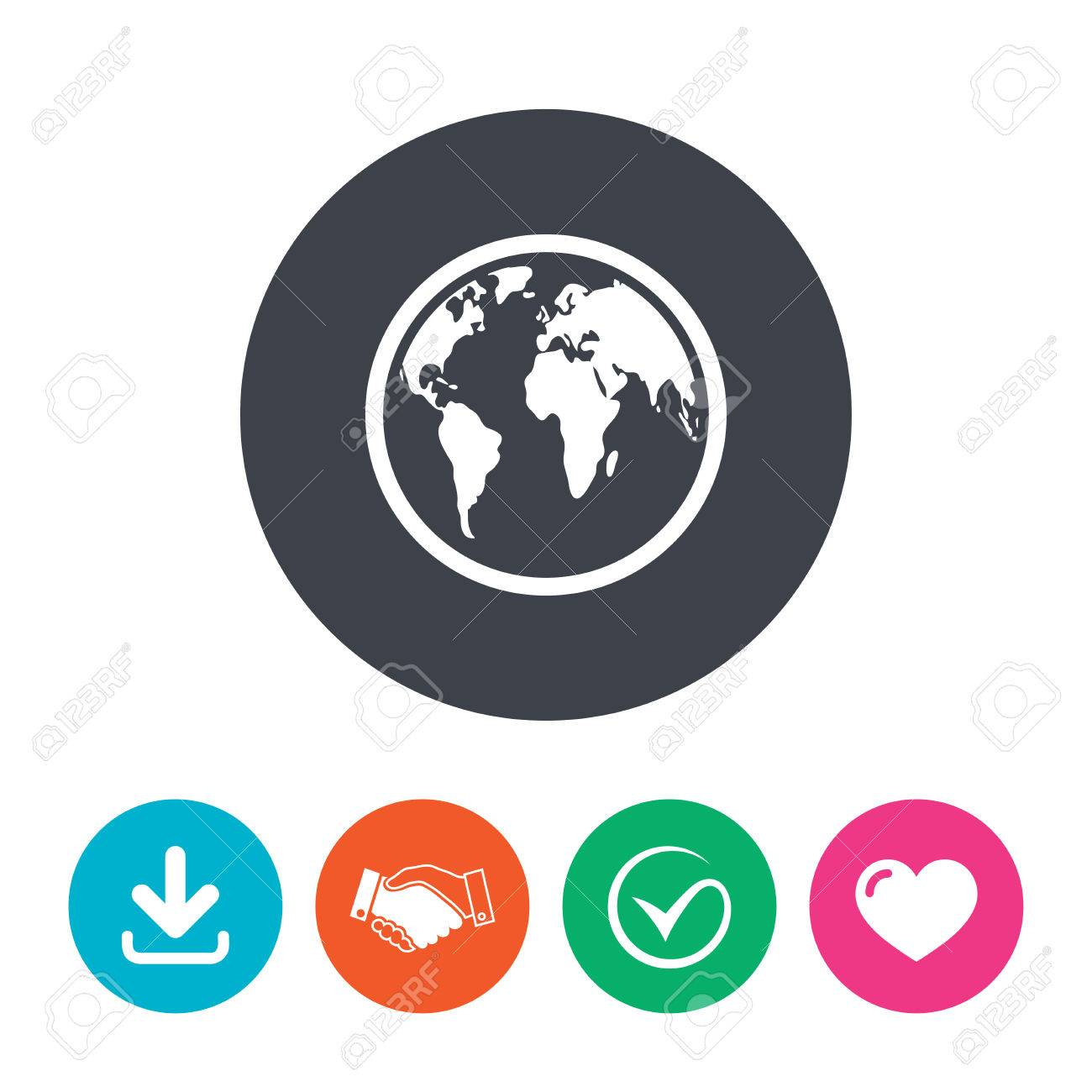 Globe sign icon world map geography symbol download arrow globe sign icon world map geography symbol download arrow handshake tick and gumiabroncs Choice Image