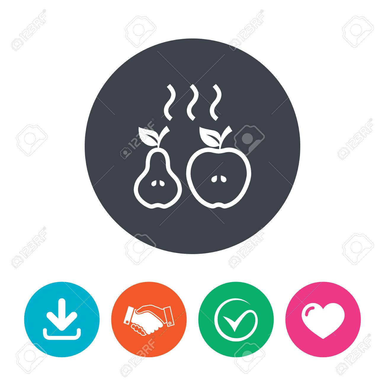 Apple and pear sign icon  Baked hot fruits symbol  Download arrow,