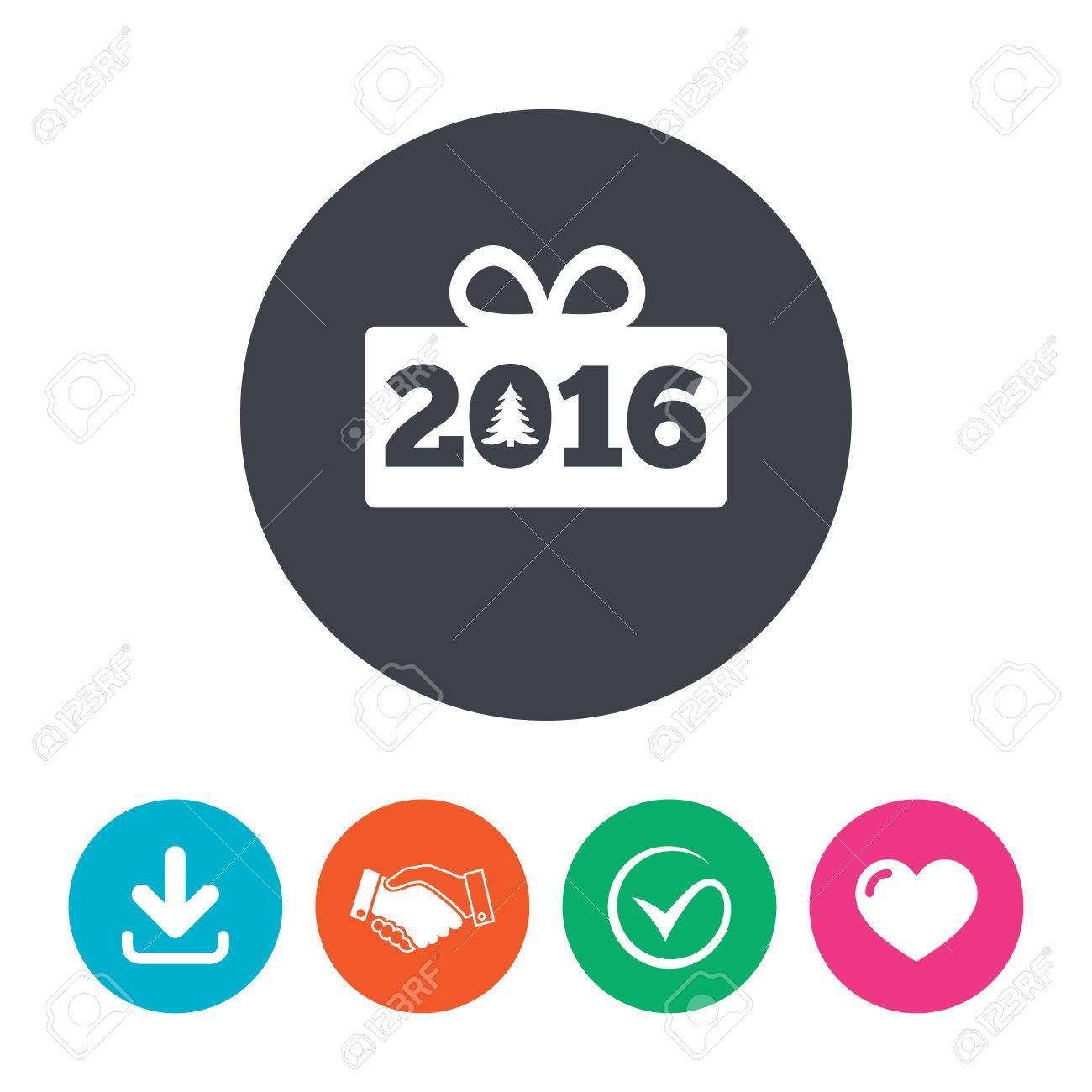 Happy New Year 2016 Sign Icon Christmas Gift Anf Tree Download