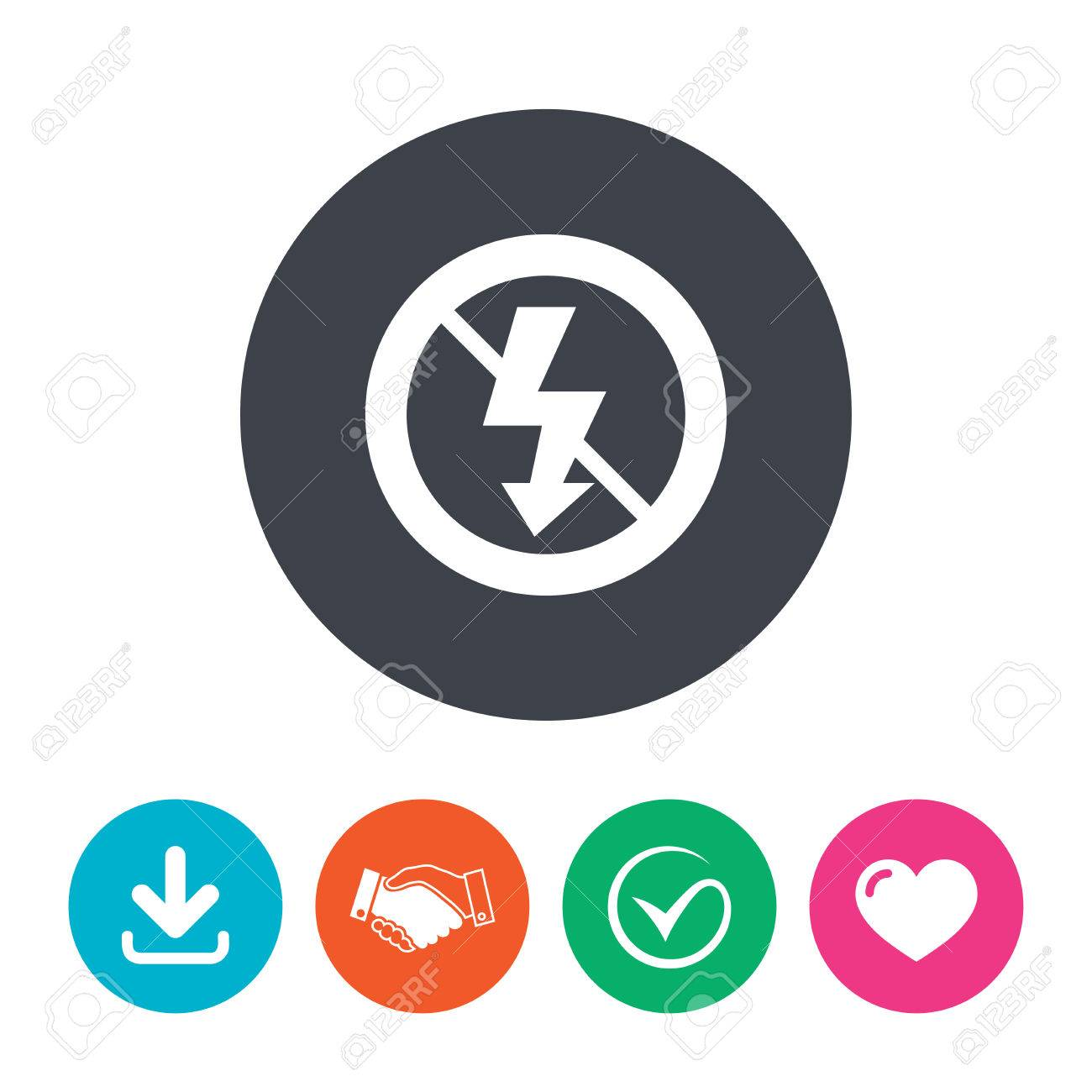 No Photo flash sign icon  Lightning symbol  Download arrow, handshake,