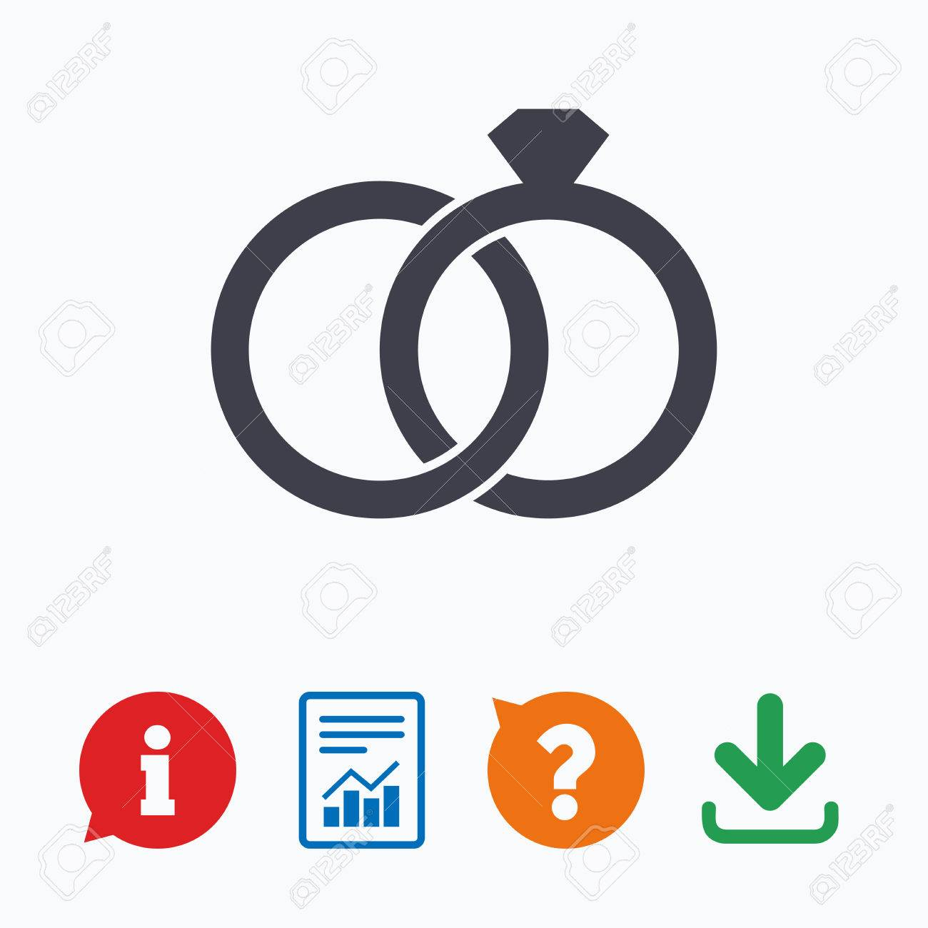 Wedding Rings Sign Icon Engagement Symbol Information Think