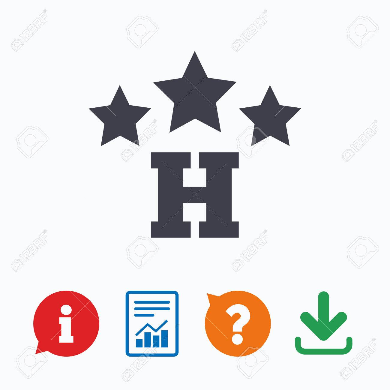 Three star Hotel apartment sign icon  Travel rest place symbol