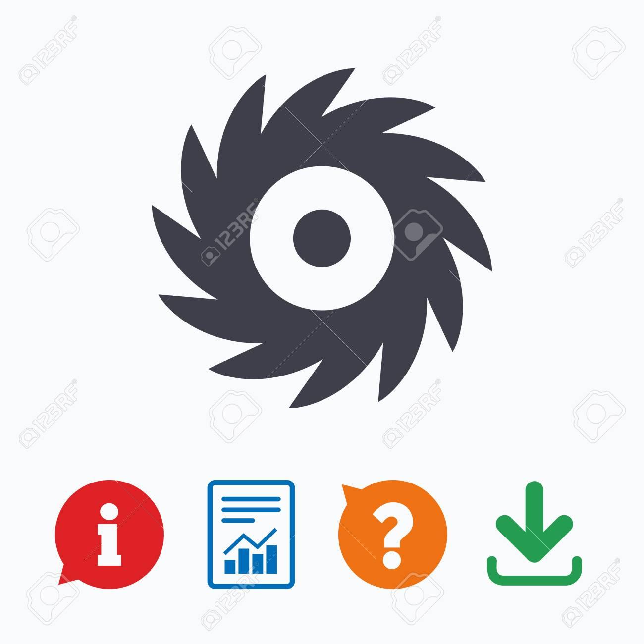 Saw circular wheel sign icon  Cutting blade symbol  Information