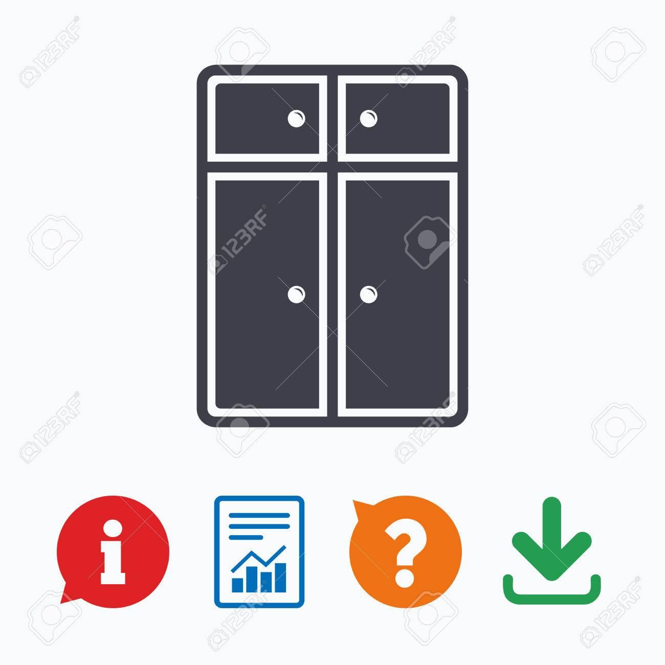 Schrank Zeichen-Symbol. Moderne Möbel Symbol. Informationen Denken ...