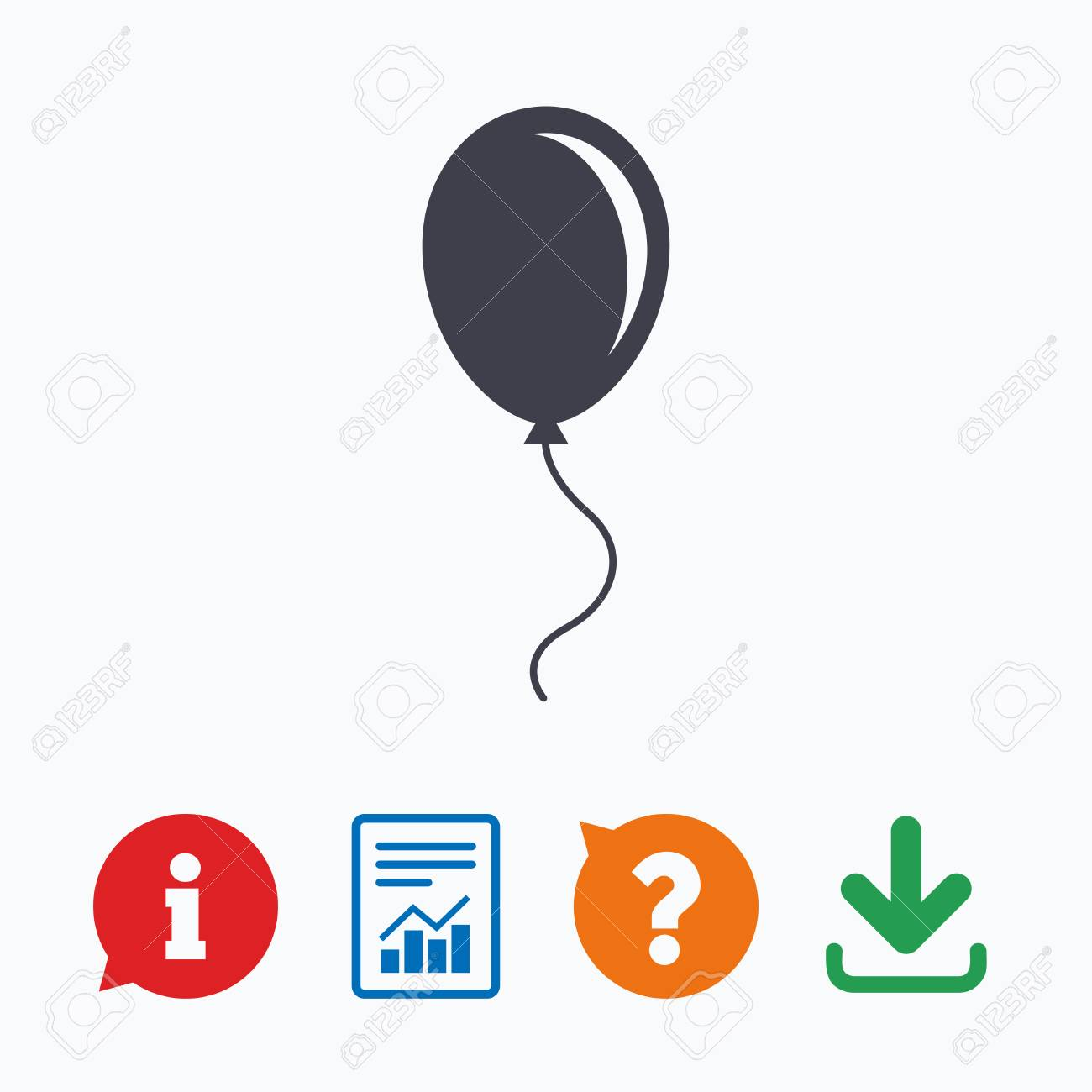 Balloon Sign Icon Birthday Air Balloon With Rope Or Ribbon Symbol