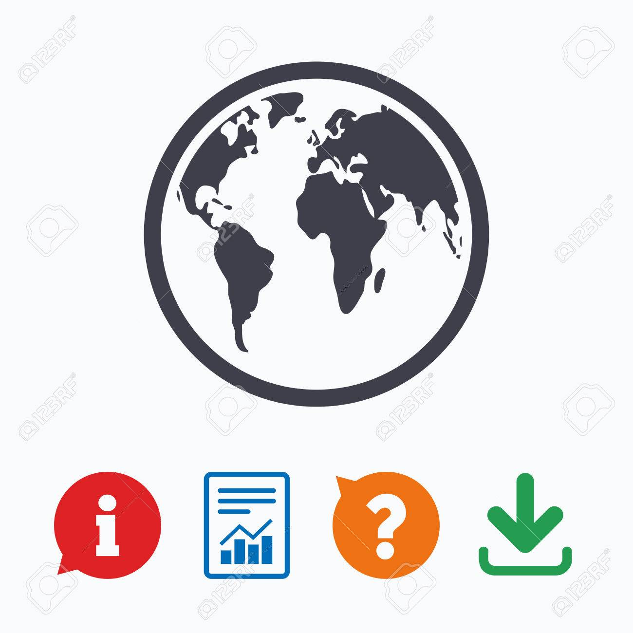 Globe sign icon world map geography symbol information think globe sign icon world map geography symbol information think bubble question mark gumiabroncs Choice Image