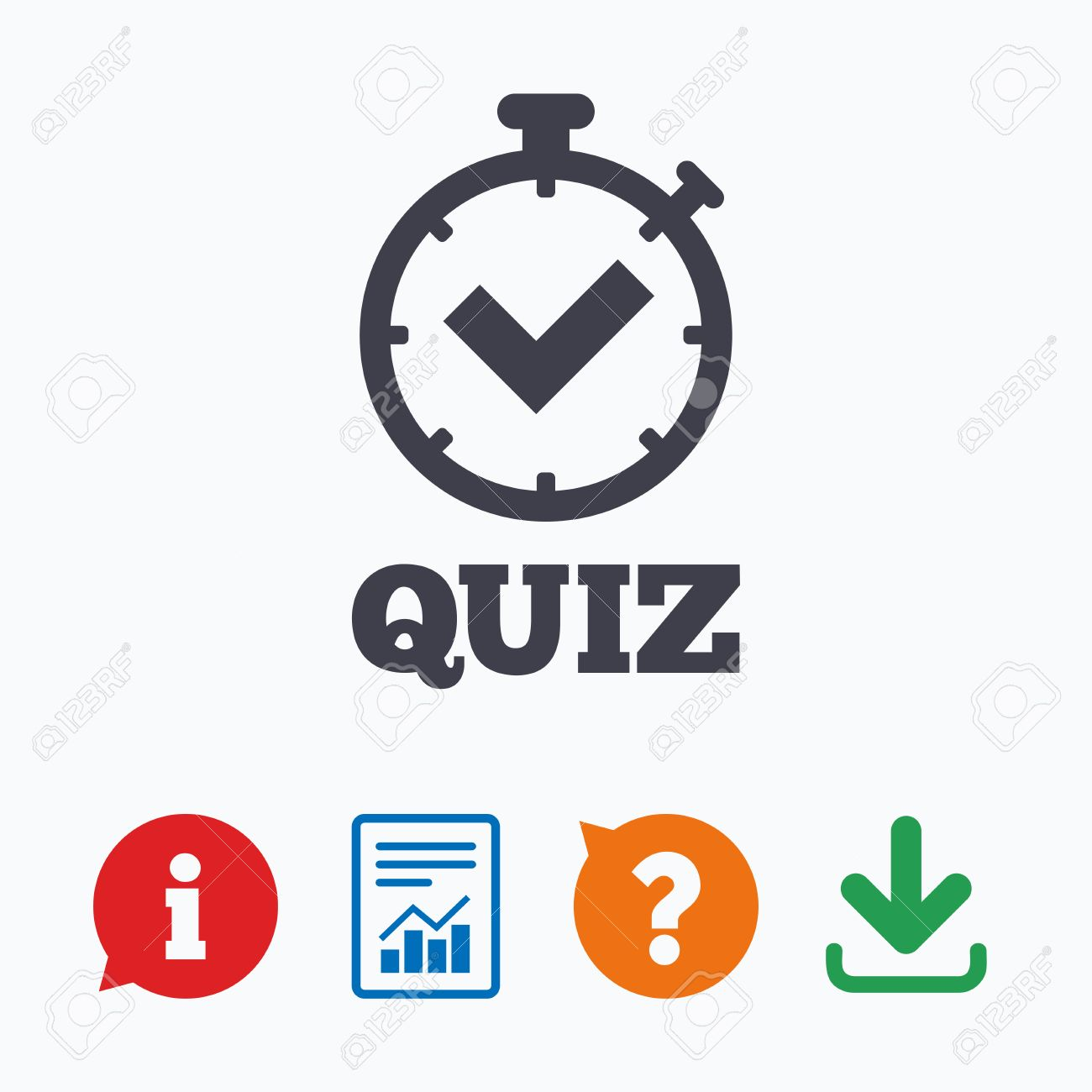 Quiz timer sign icon  Questions and answers game symbol  Information