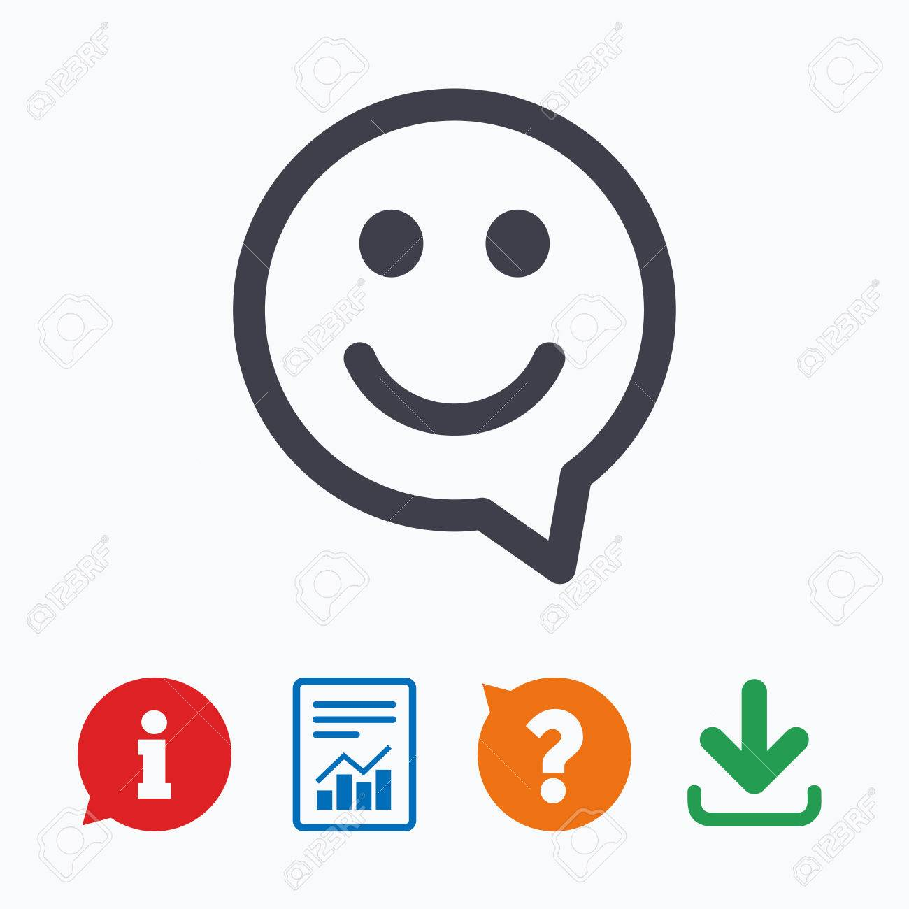 Happy Face Chat Speech Bubble Symbol Smile Icon Information