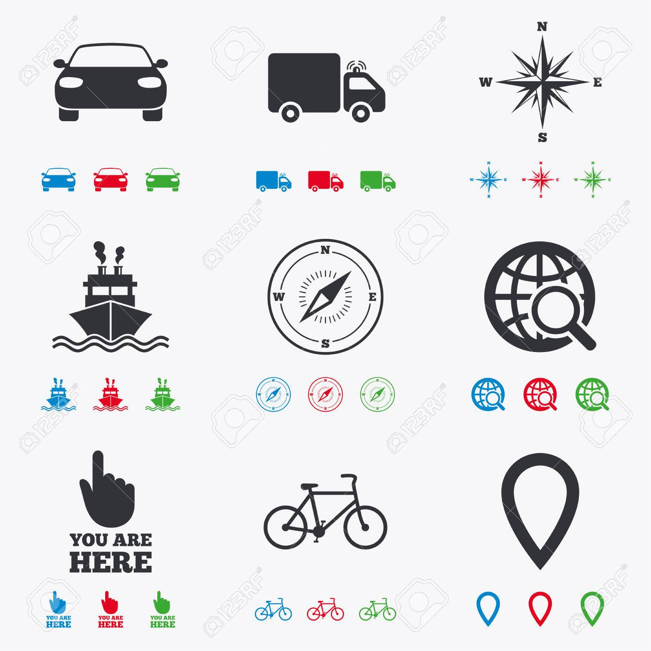 Navigation gps icons windrose compass and map pointer signs navigation gps icons windrose compass and map pointer signs bicycle ship biocorpaavc Gallery
