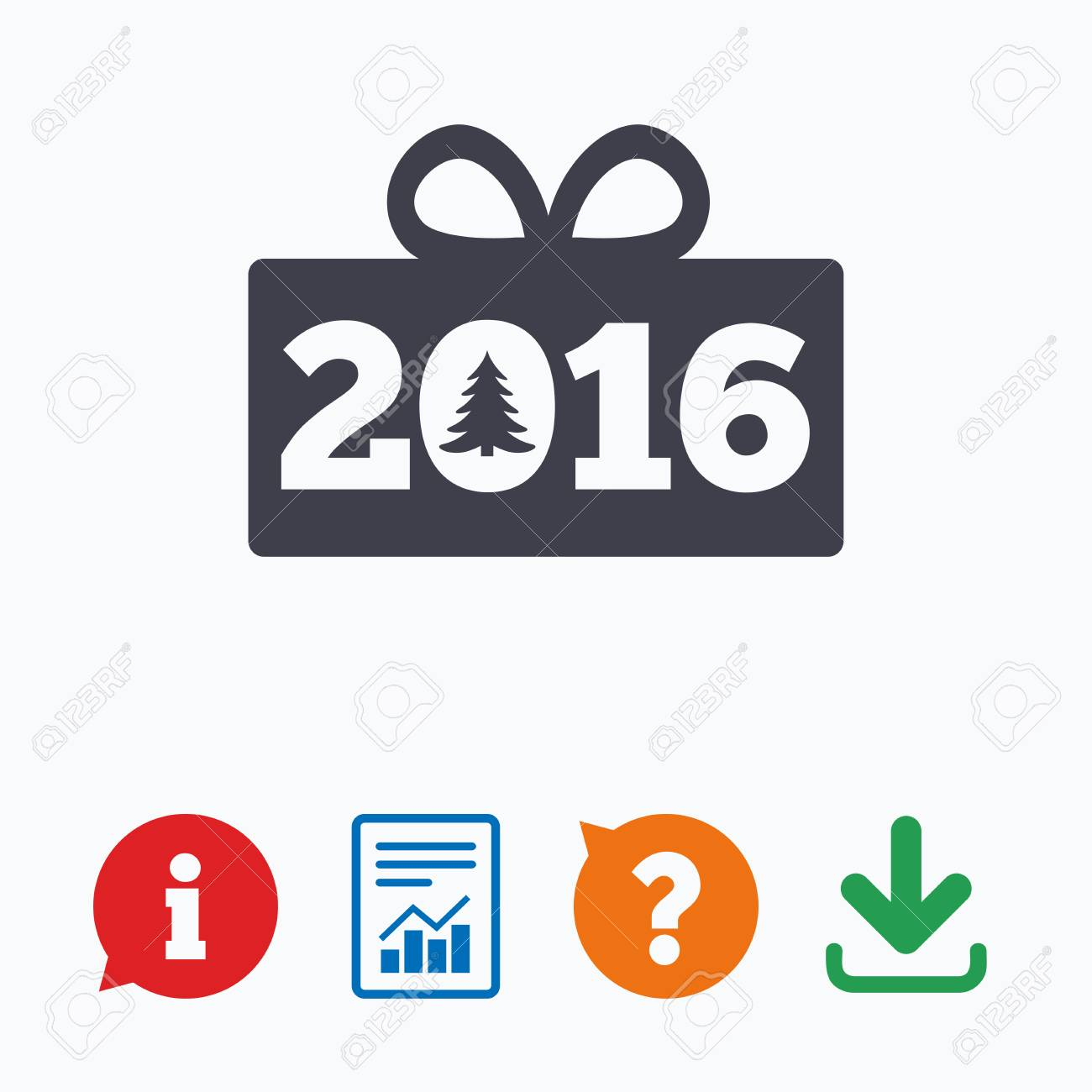 Happy New Year 2016 Sign Icon Christmas Gift Anf Tree