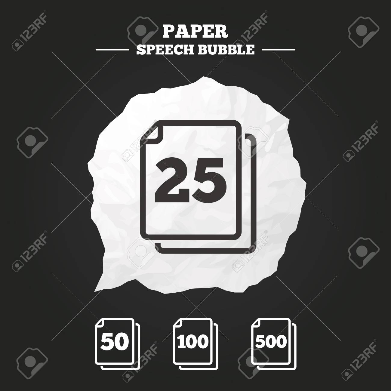 in pack sheets icons quantity per package symbols 25 50 100 and