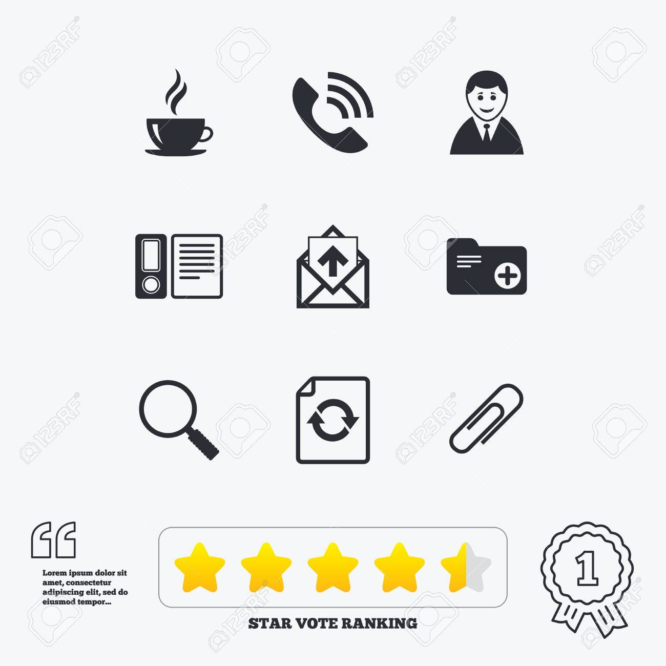Phone Call Quotes Office Documents And Business Iconscoffee Phone Call And