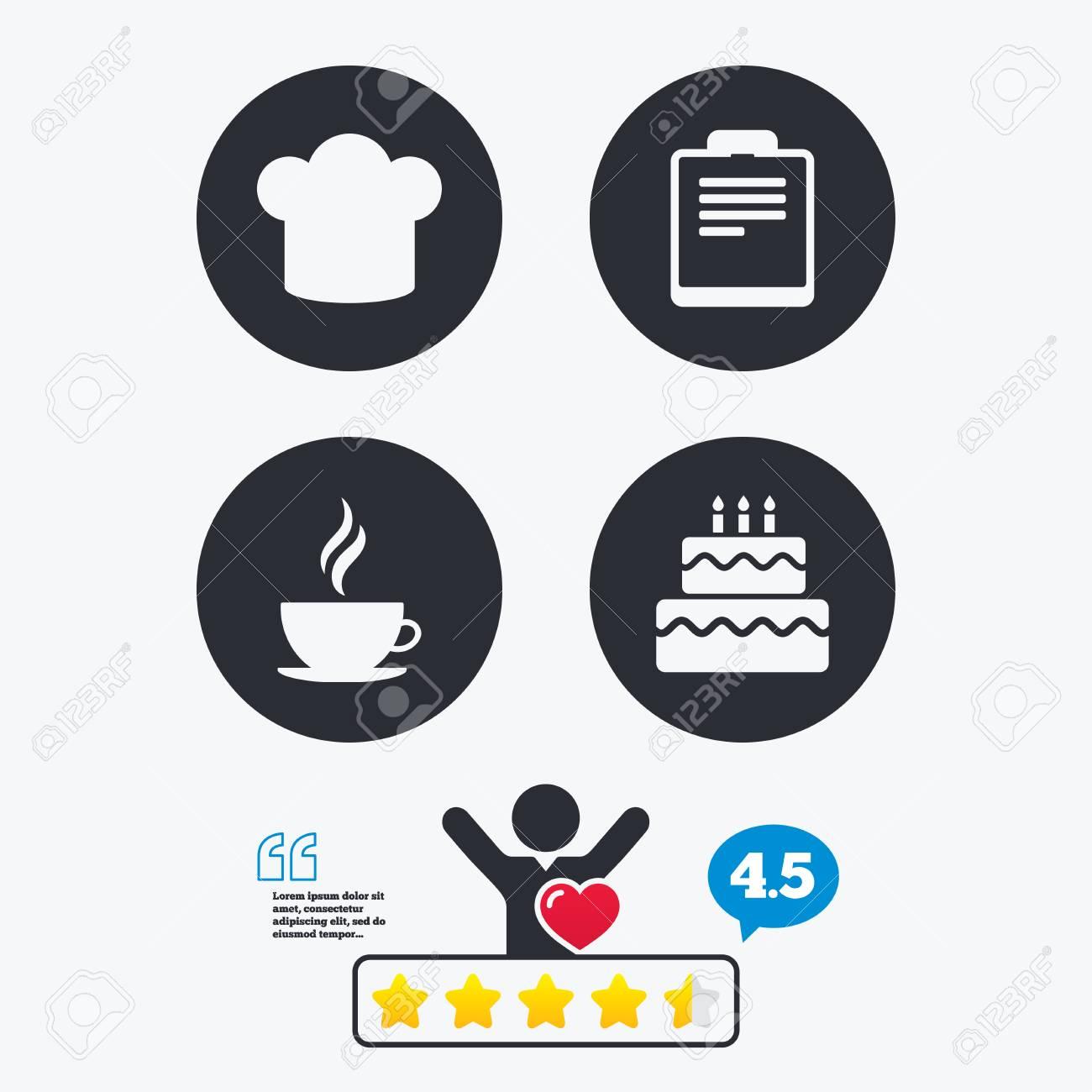 Icone De Tasse De Cafe Symbole De Chef Chapeau Signes De Gateau D