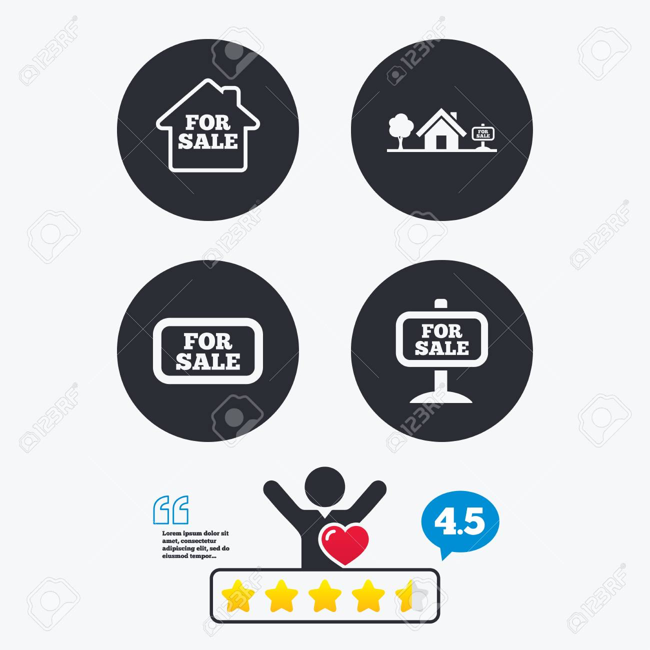 For sale icons. Real estate selling signs. Home house symbol...