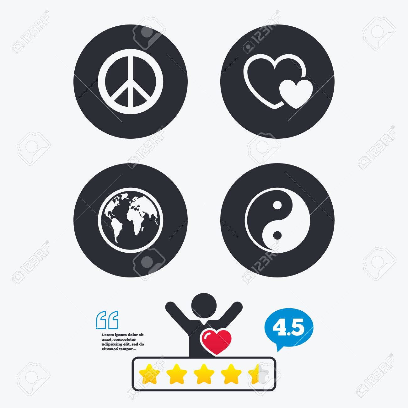 Ying Yang Sign. Hearts Love Sign. Peace Hope. Harmony And Balance Symbol.  Star Vote Ranking. Client Like And Think Bubble. Quotes With Message.