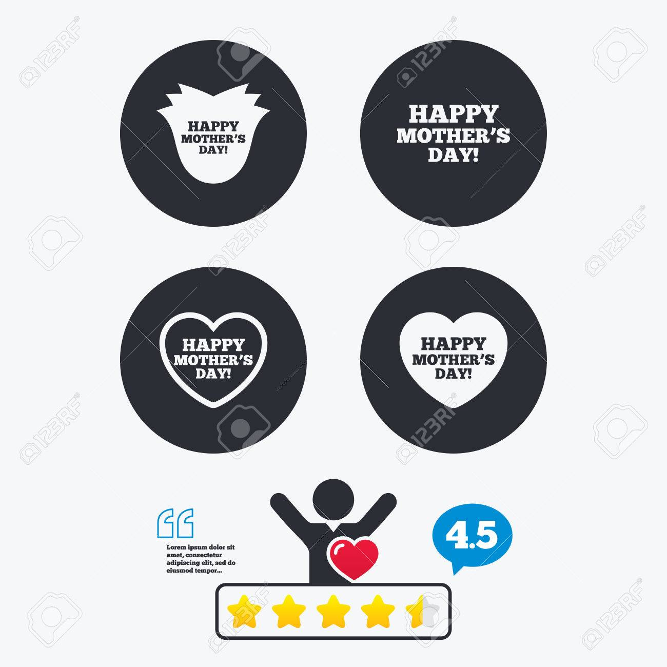 Happy Motherss Day Icons Mom Love Heart Symbols Flower Rose