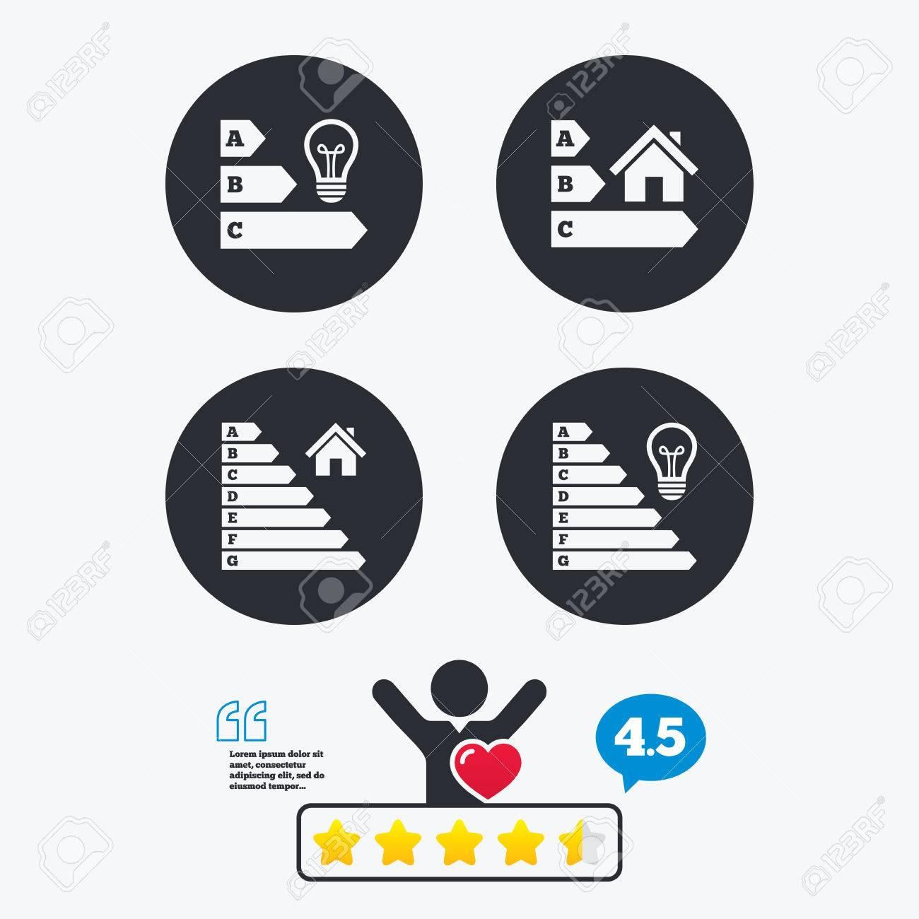 Energy Efficiency Icons. Lamp Bulb And House Building Sign Symbols. Star  Vote Ranking.