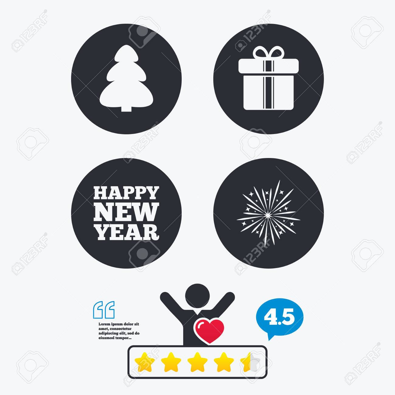 Cadeau De Noel Classe.Bonne Année Icône Signes De Sapin Et De Boîte De Cadeau De Noël Symbole Explosif De Feux D Artifice Classement Des Votes étoiles Le Client Aime Et
