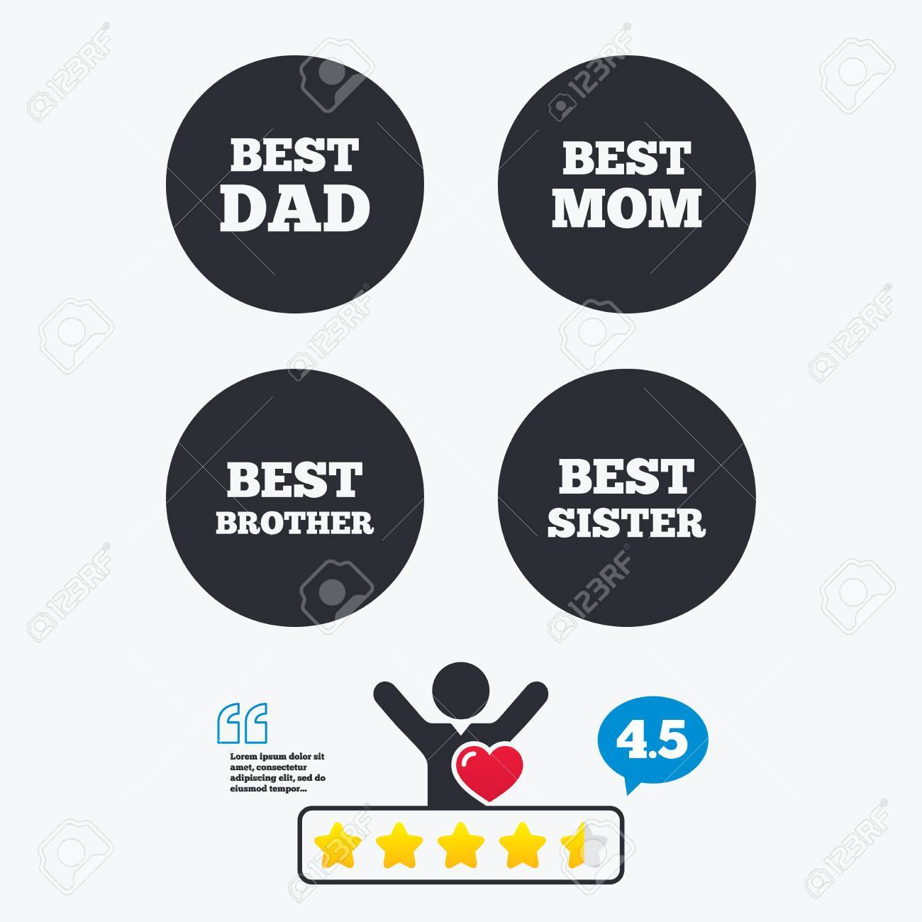 Best Mom And Dad Brother And Sister Icons Award Symbols Star