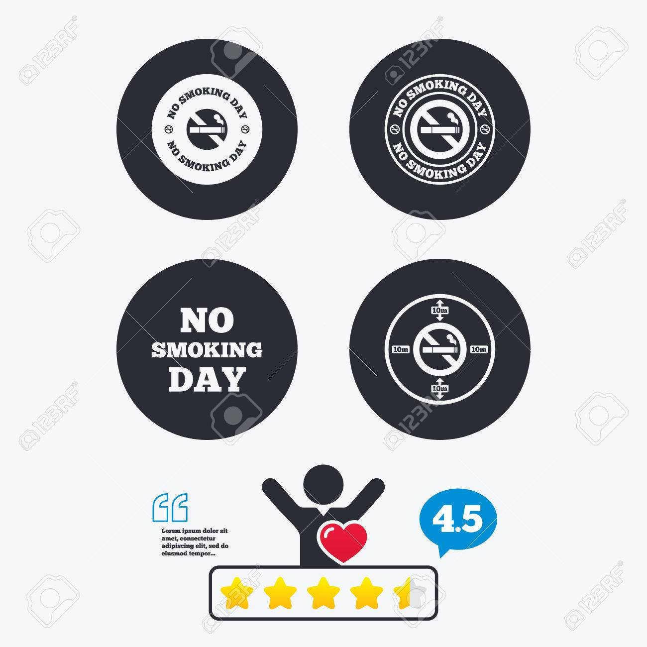 No Smoking Day Icons Against Cigarettes Signs Quit Or Stop