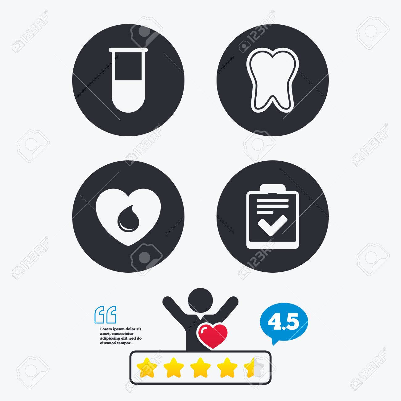 Dental Quotes Medical Iconstooth Test Tube Blood Donation And Checklist