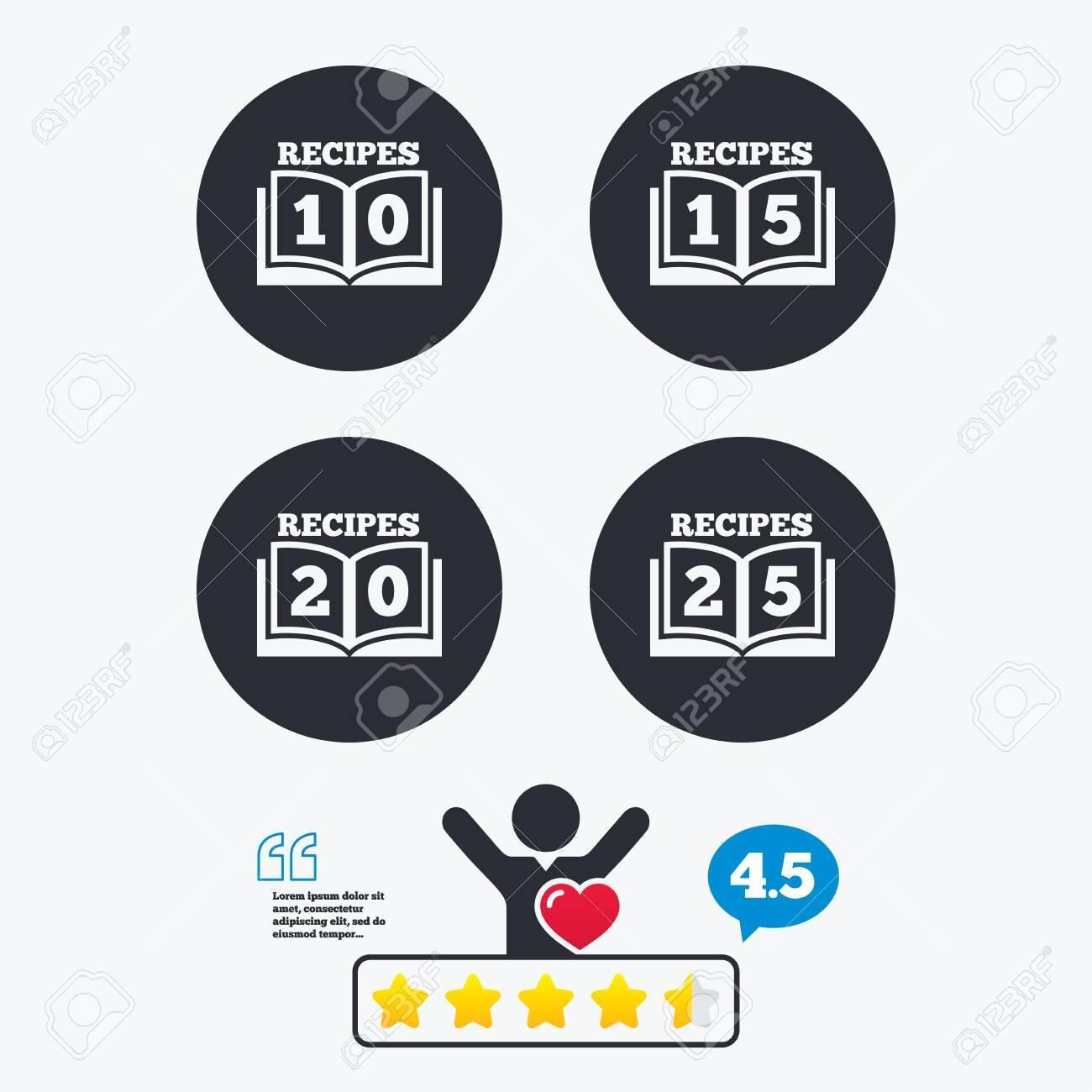 Cookbook icons. 10, 15, 20 and 25 recipes book sign symbols
