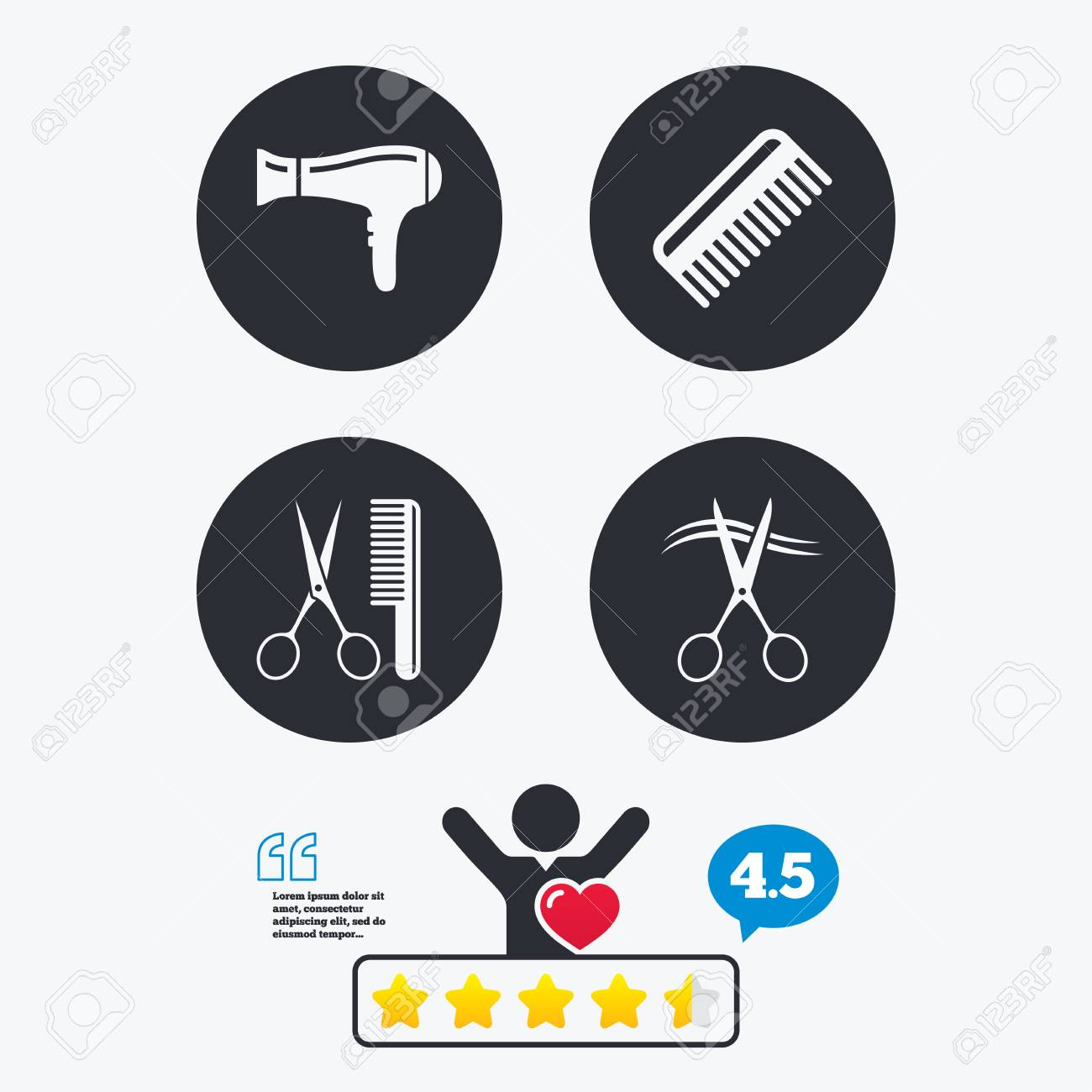 Hairdresser Icons Scissors Cut Hair Symbol Comb Hair With