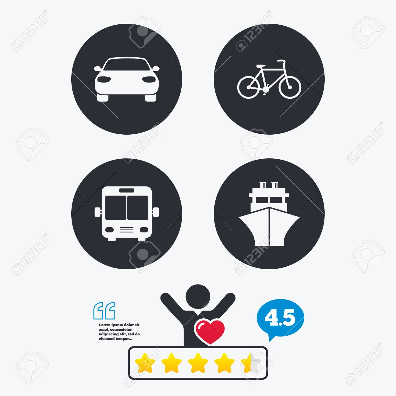 Transport Icons Car Bicycle Public Bus And Ship Signs Shipping