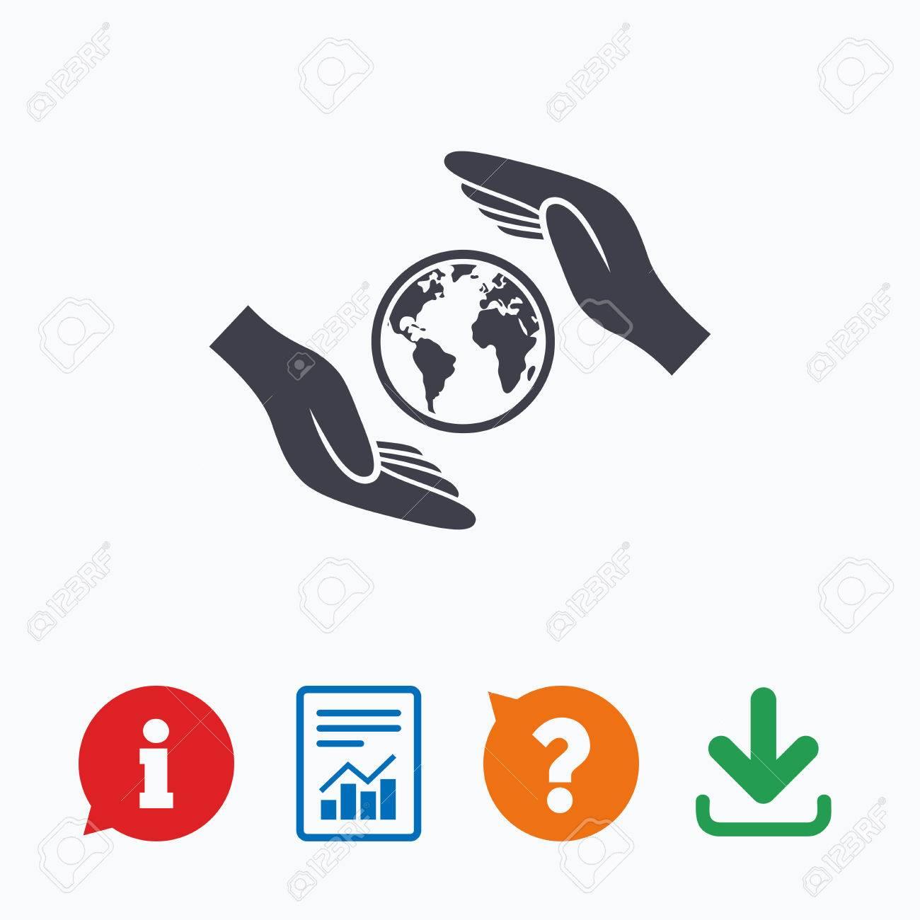 En Todo El Mundo Icono De La Muestra De Seguros Las Manos Protegen Símbolo Tapa Planeta Seguro De Viaje La Paz Mundial Información Pensar Burbuja Signo De Interrogación La Descarga Y El