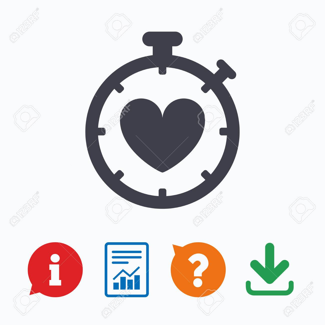 Heart Timer sign icon  Stopwatch symbol  Heartbeat palpitation