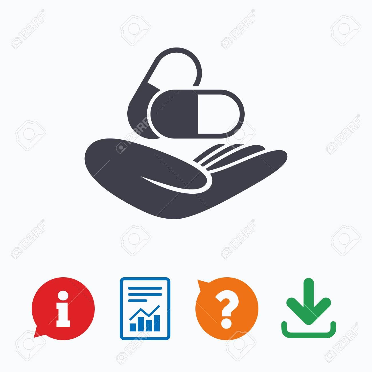 Medical Insurance Sign Icon Health Insurance Pills Symbol