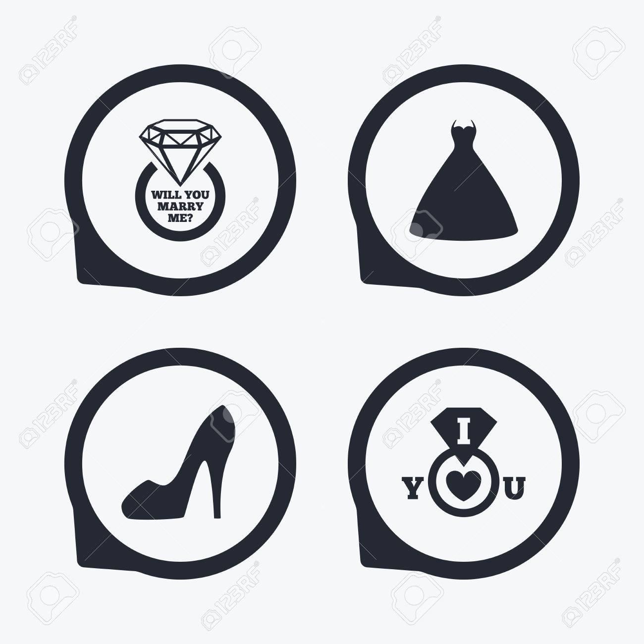 Icono De Vestido De Novia. Símbolo Zapato De Las Mujeres. Anillo De ...