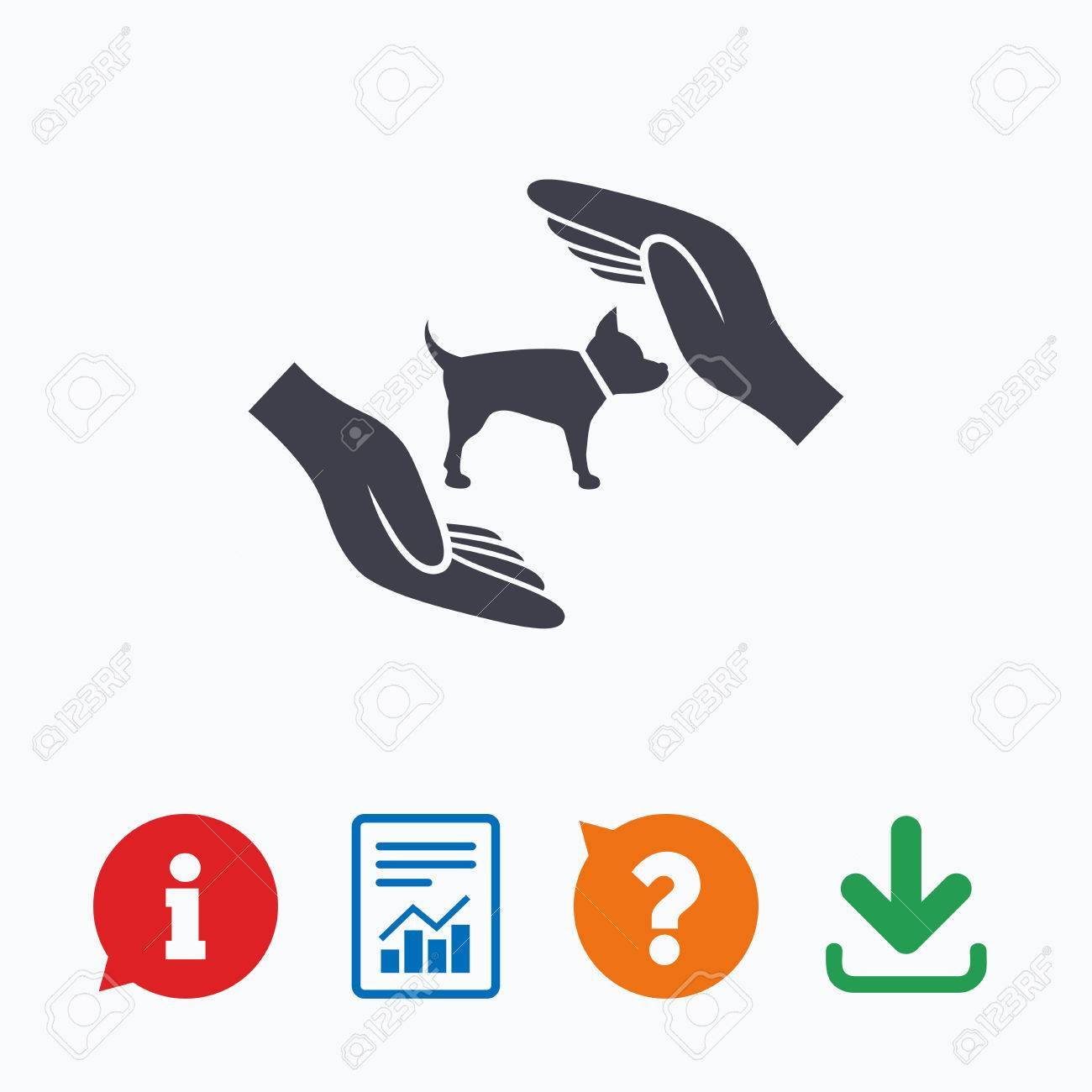 Protection Of Animals Pets Sign Icon Hands Protect Dog Symbol