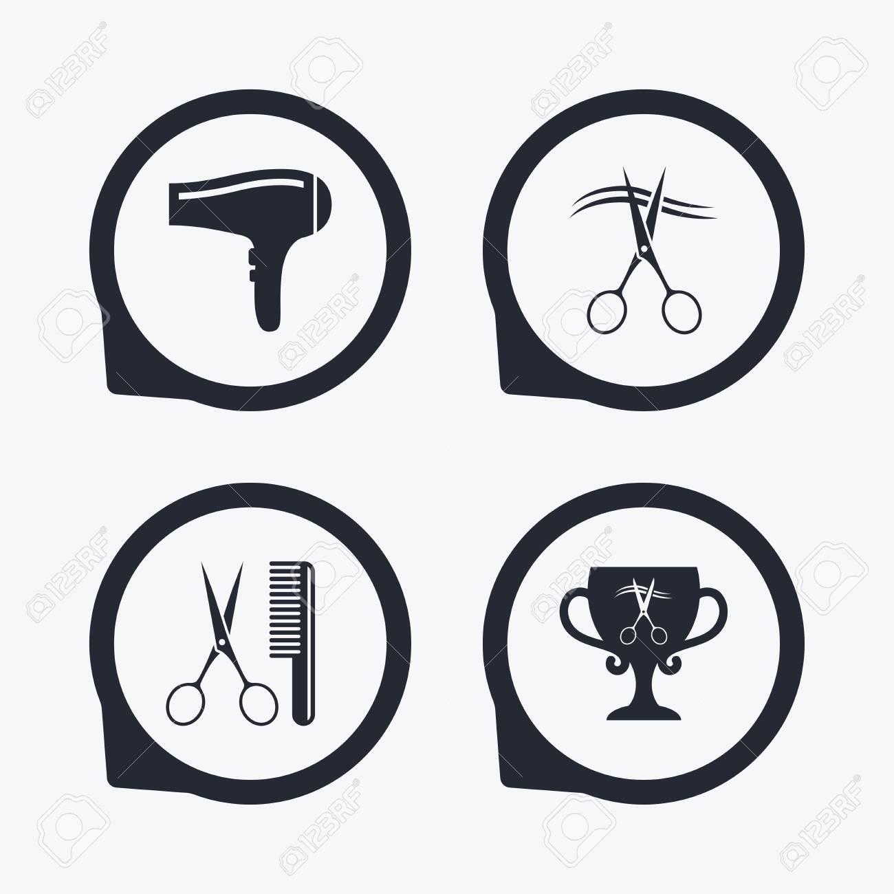 Hairdresser icons scissors cut hair symbol comb hair with scissors cut hair symbol comb hair with hairdryer symbol barbershop winner biocorpaavc Choice Image