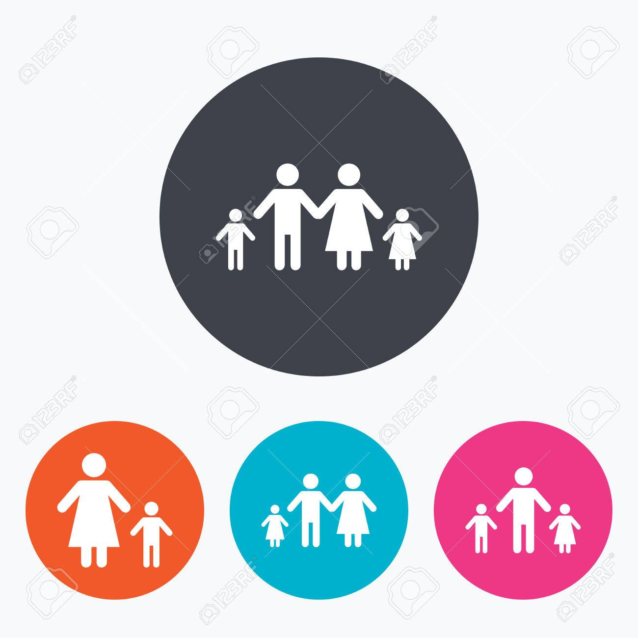 Family with two children icon parents and kids symbols one family with two children icon parents and kids symbols one parent family signs buycottarizona