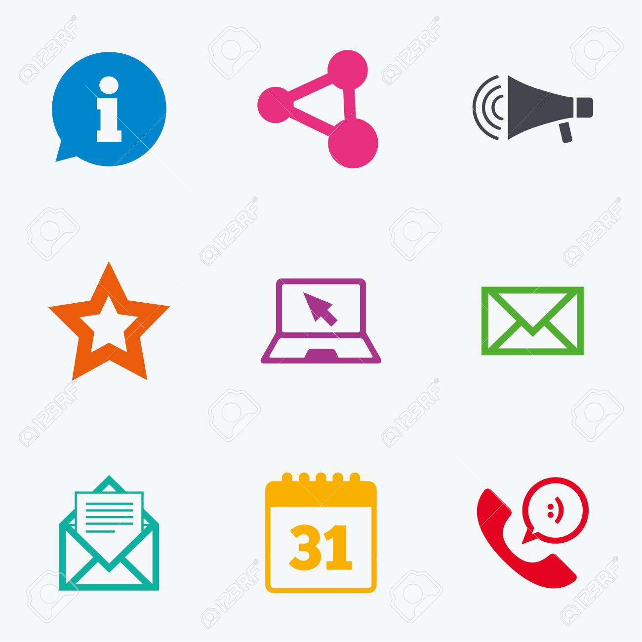 Communication icons  Contact, mail signs  E-mail, information