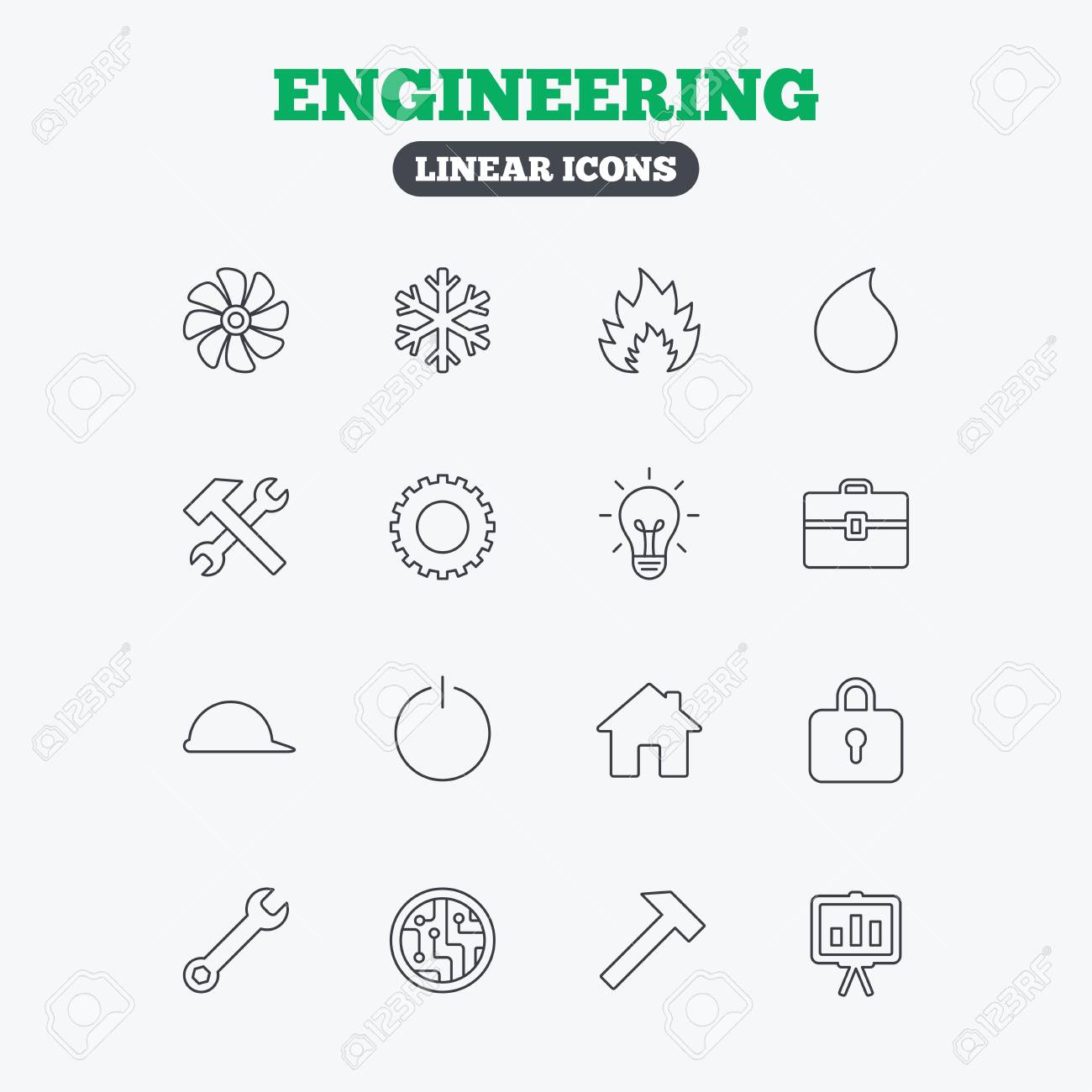 Engineering Icons. Ventilation, Heat And Air Conditioning Symbols ...