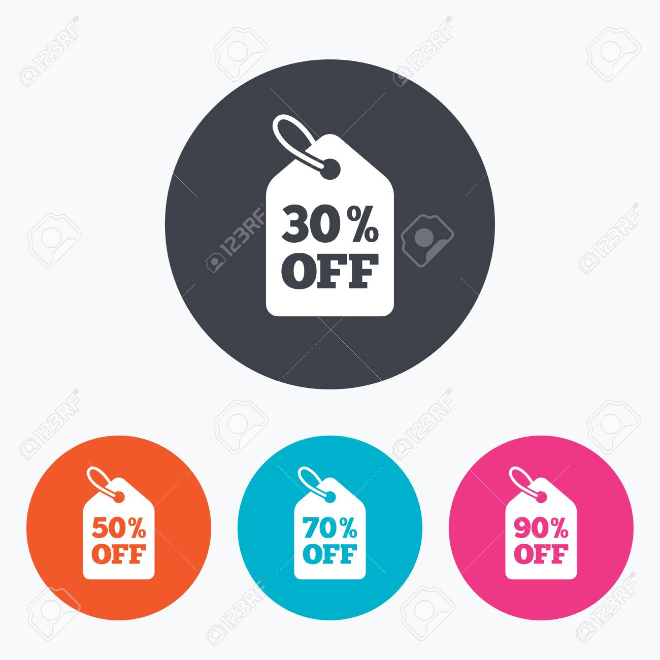 Sale Price Tag Icons. Discount Special Offer Symbols. 30%, 50 ...