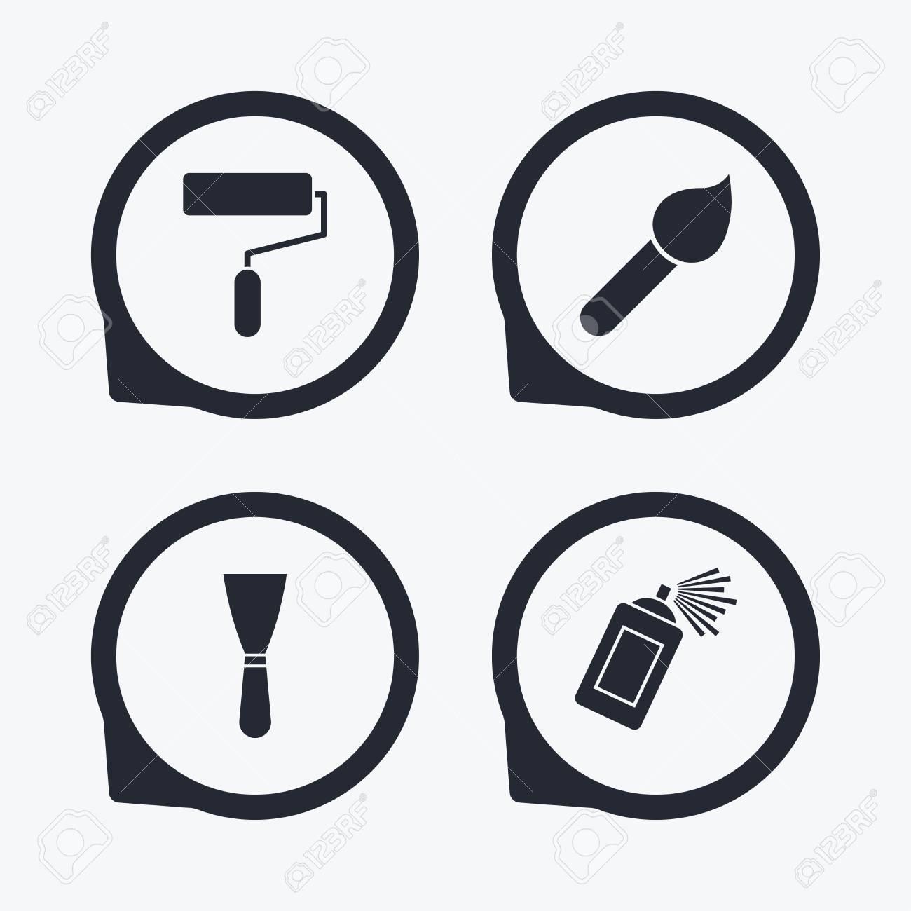 Rouleau De Peinture Icones De Pinceau Spray Peut Et Spatule Signes Mur Outil De Reparation Et Le Symbole De La Peinture Flat Icon Pointeurs Clip Art Libres De Droits Vecteurs Et