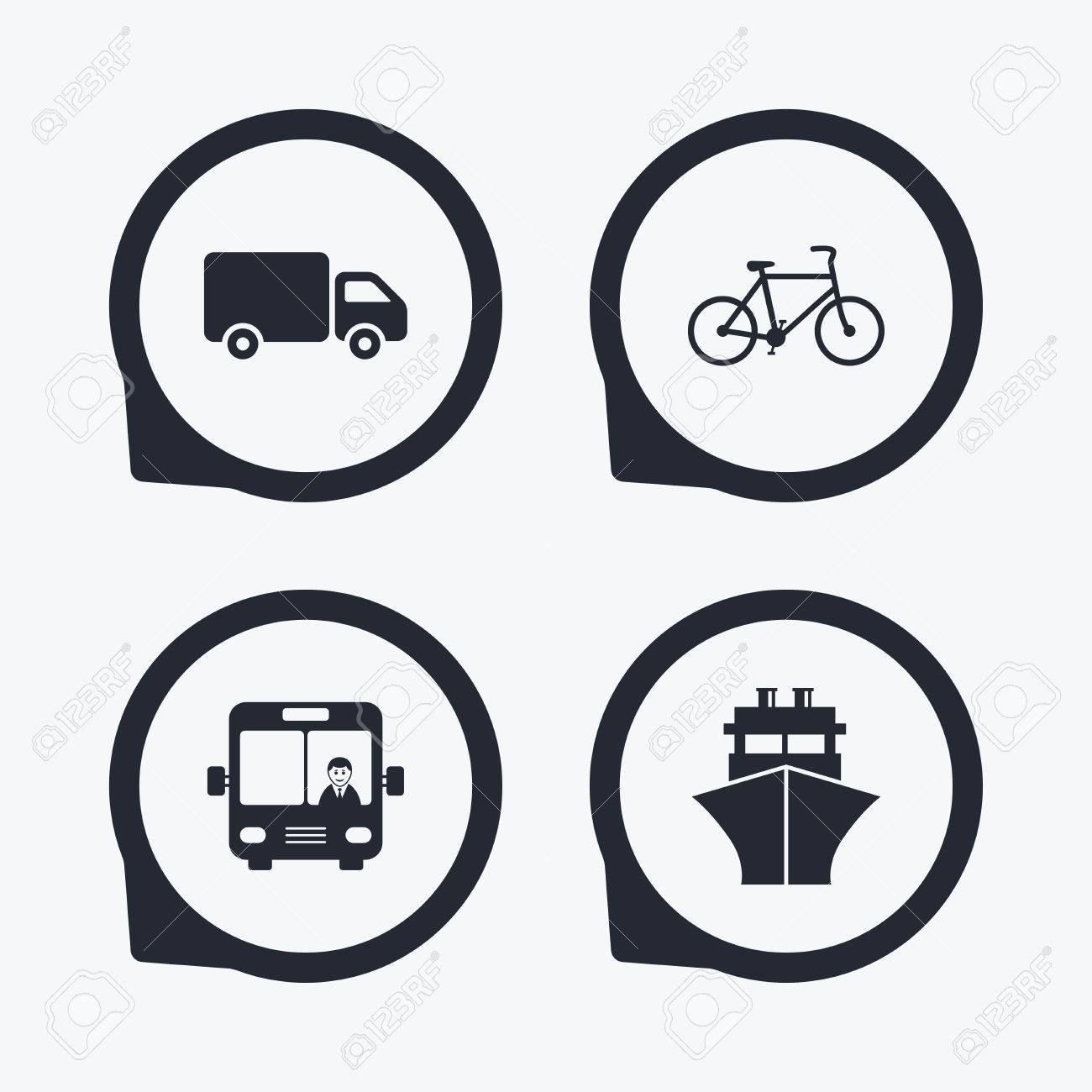 Transport icons truck bicycle public bus with driver and ship truck bicycle public bus with driver and ship signs shipping buycottarizona