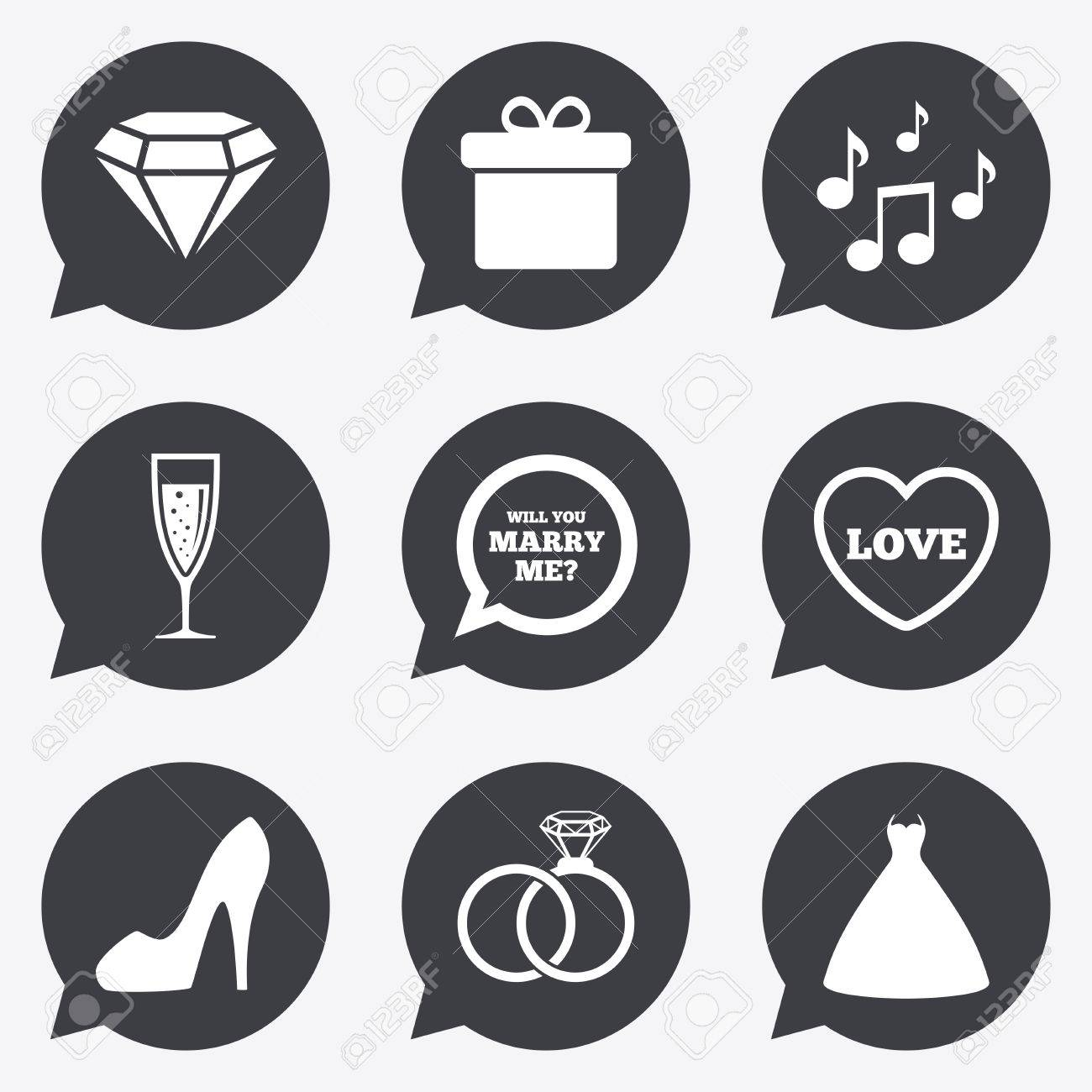 wedding engagement icons rings gift box and brilliant signs