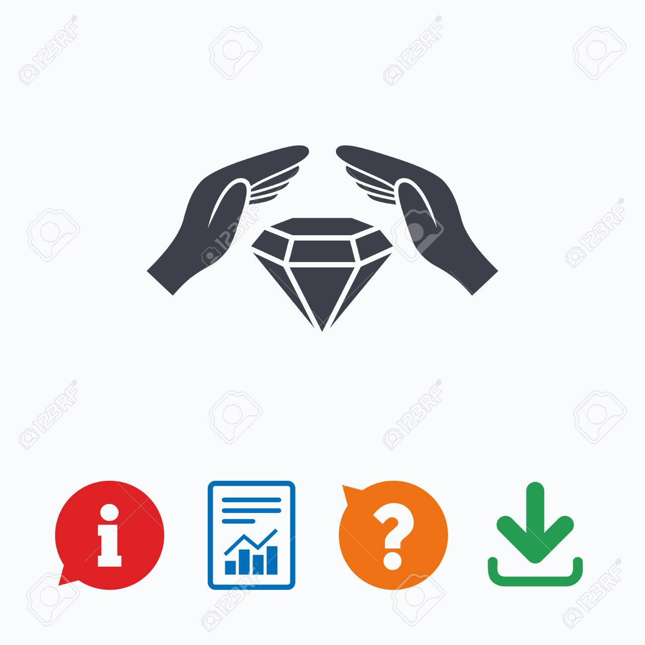 Jewelry insurance sign icon  Hands protect cover diamonds symbol