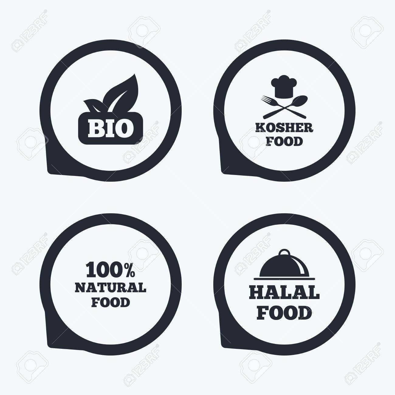 100 Natural Bio Food Icons Halal And Kosher Signs Chief Hat With
